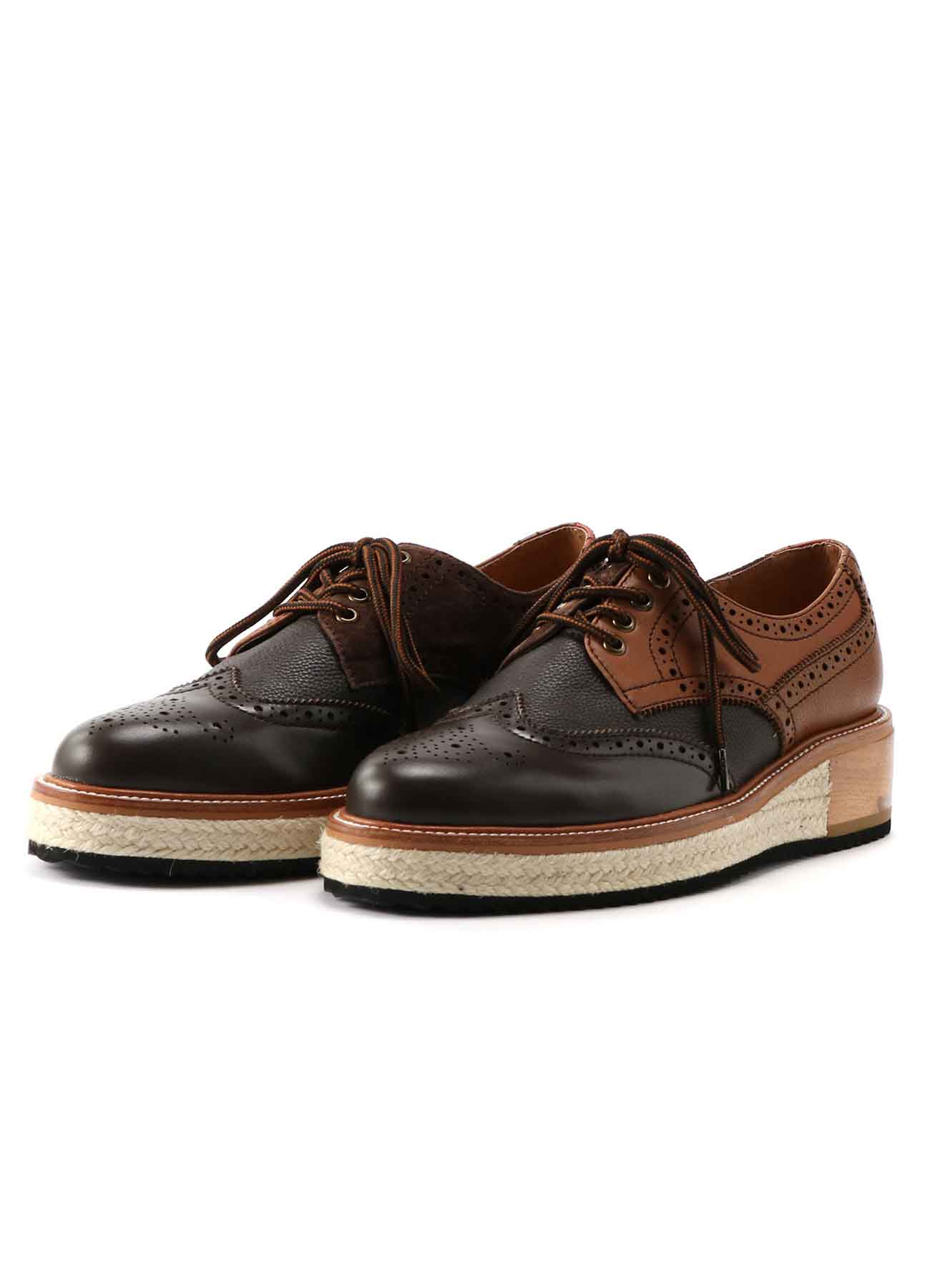KAYONAKAMURAbyY's COMBI MULTI MATERIAL LEATHER DECO HOLE LOW SHOES