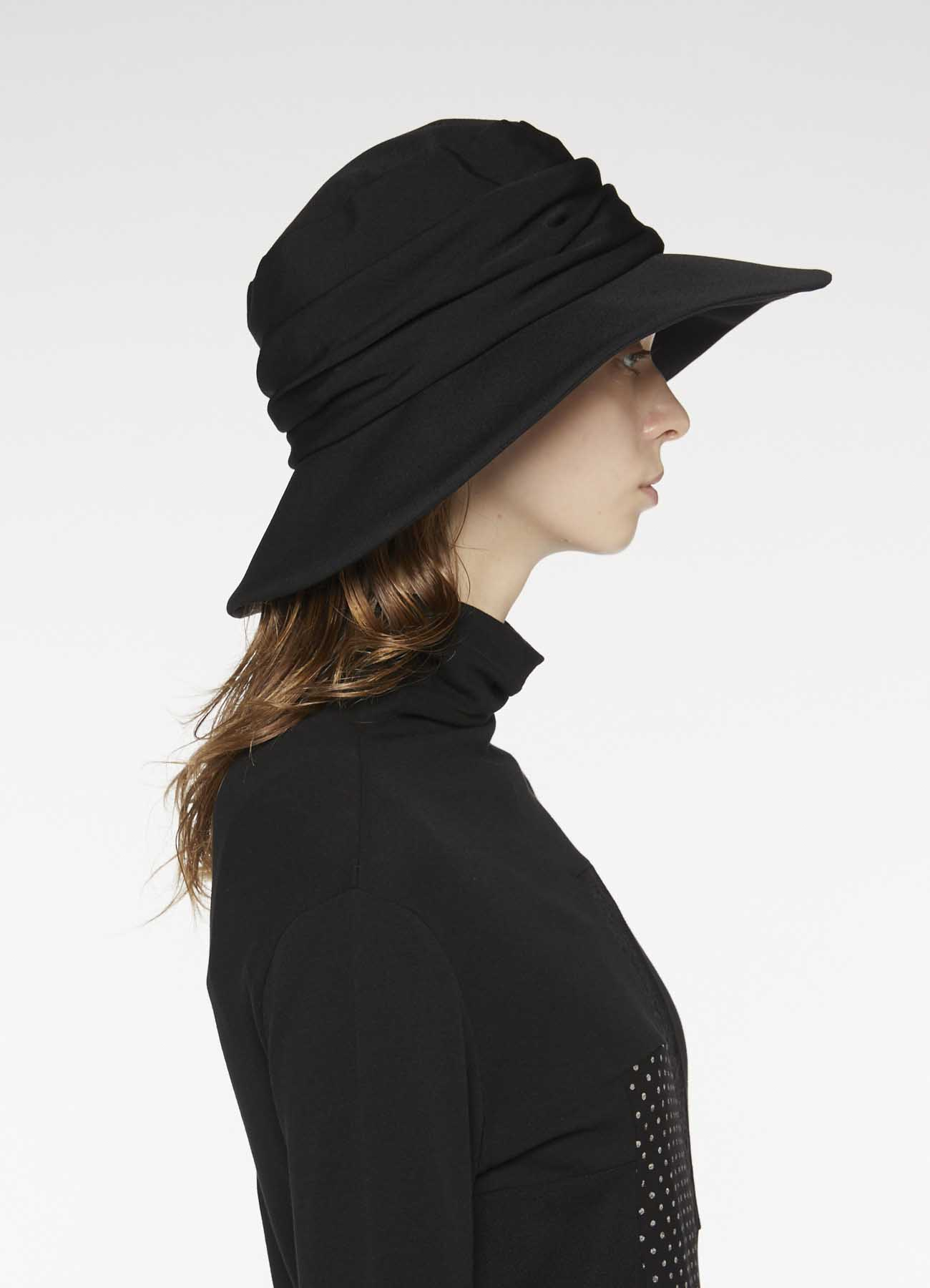GABARDINE COW LEATHER COMBI HAT