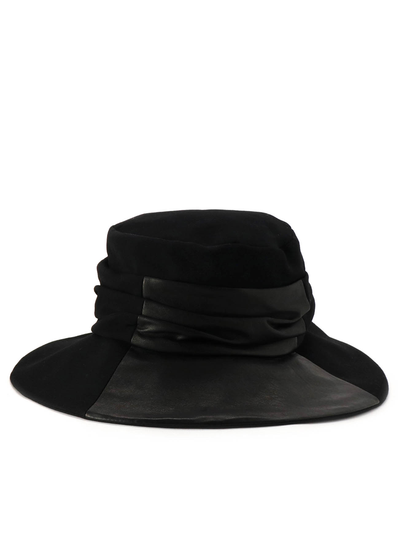 GABARDINE COW LEATHER COMBI HAT