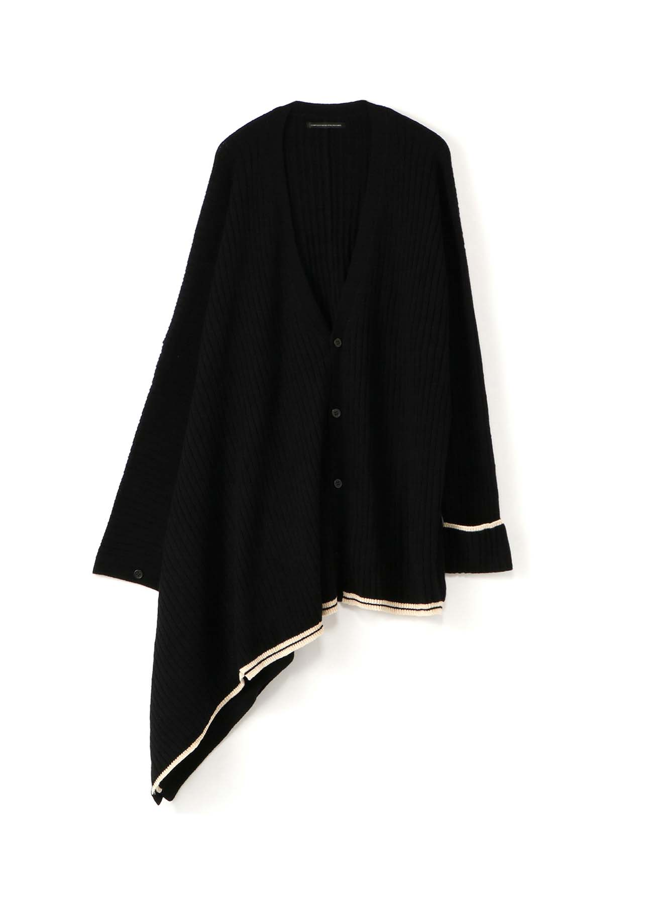WOOL NYLON RIB UNBALANCE V NECK CARDIGAN