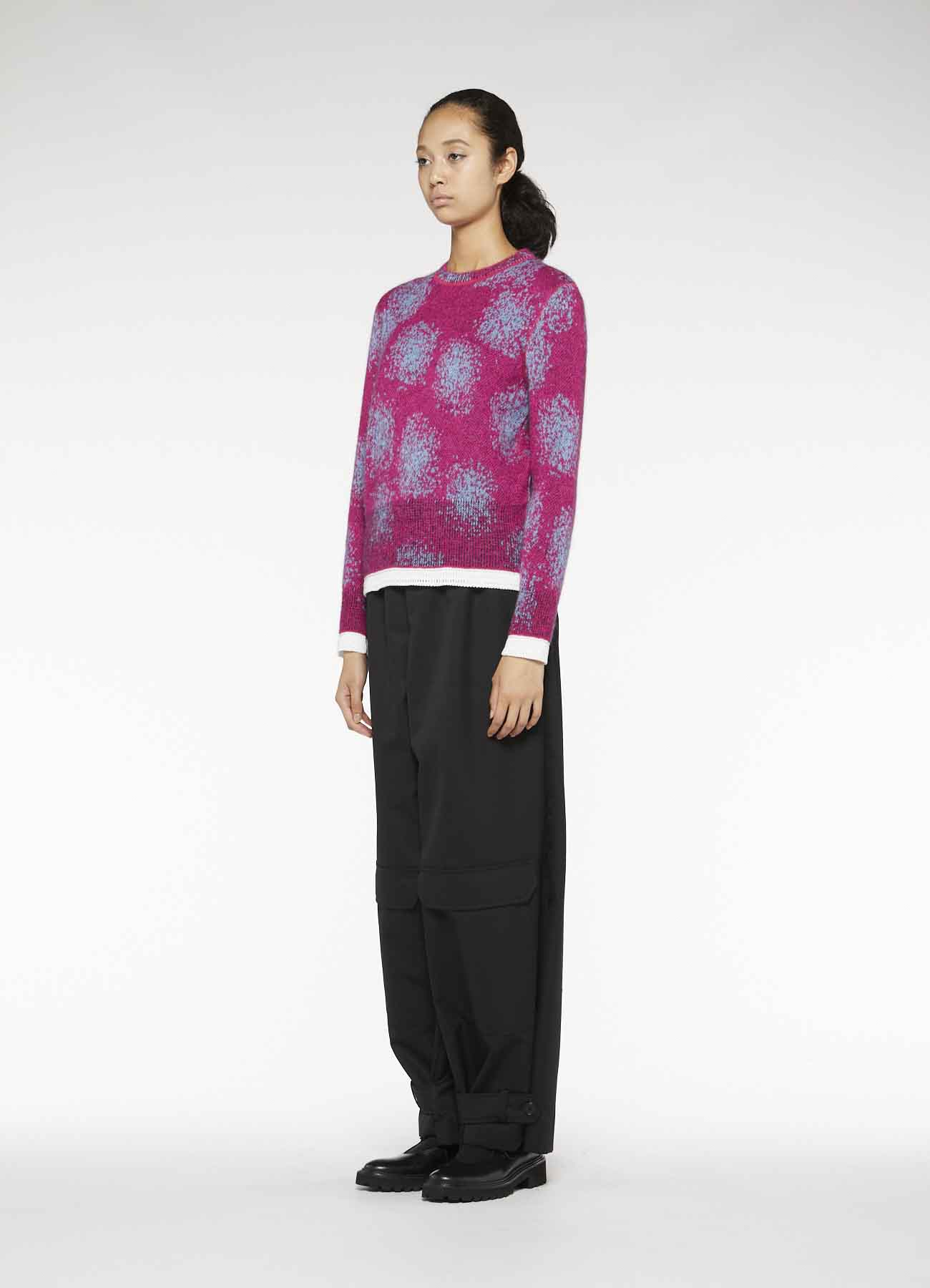 Y'sPINK MOHAIR JACQUARD REVERSIBLE PULLOVER