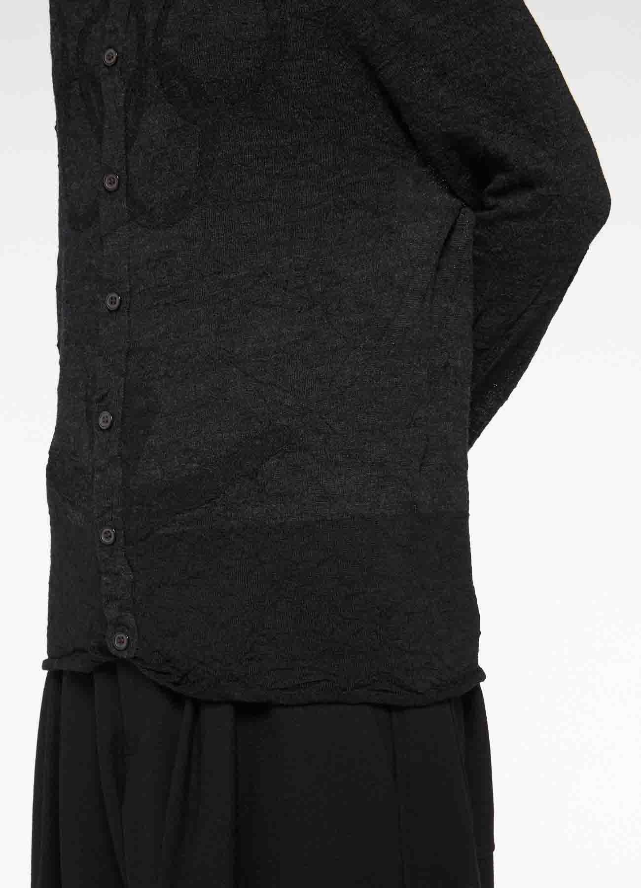 LINKS WRINKLE OFF NECK LONG SLEEVE BUTTON CARDIGAN