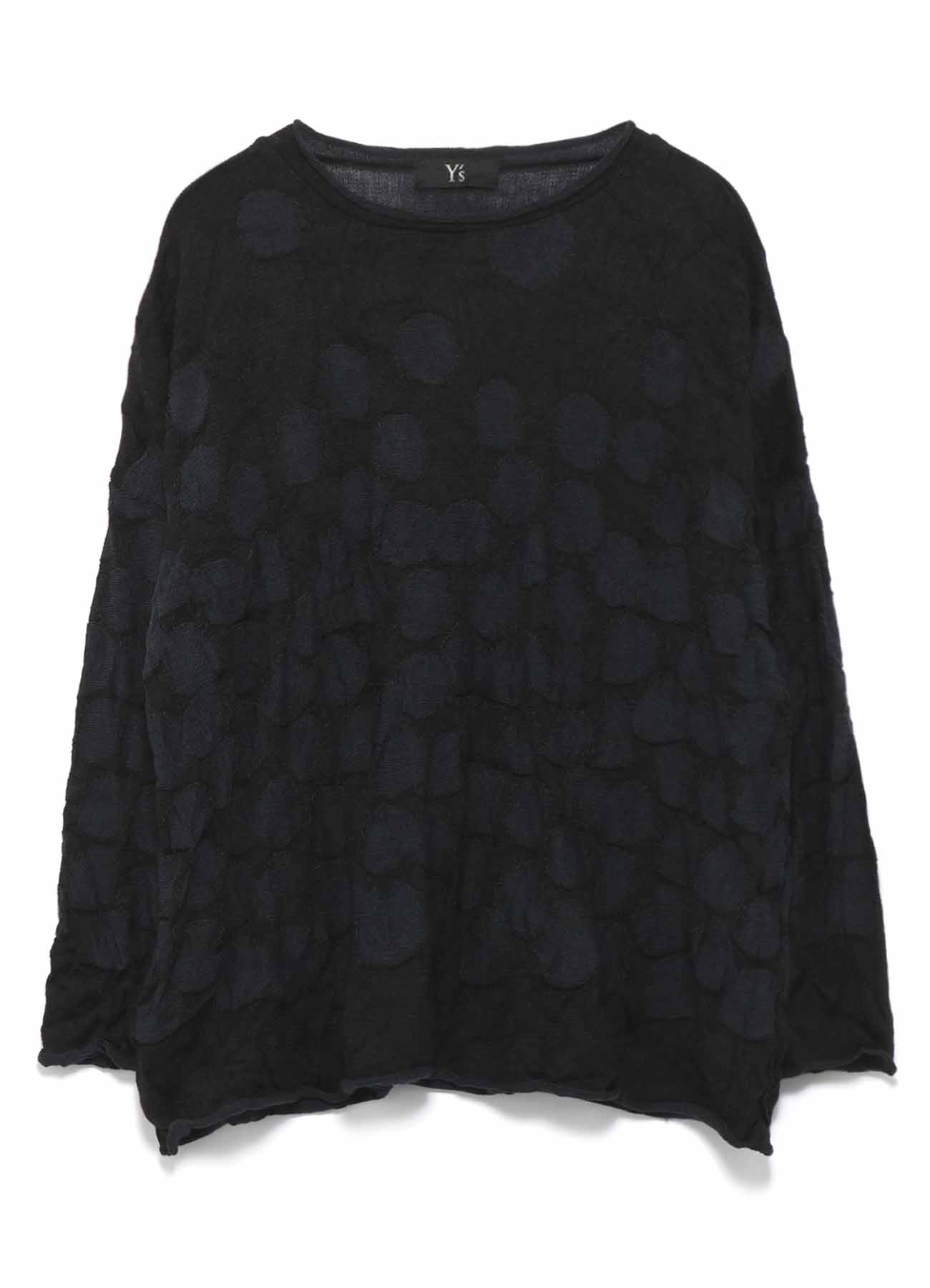 LINKS DOT WRINKLE ROUND NECK LOOSE KNIT PULLOVER