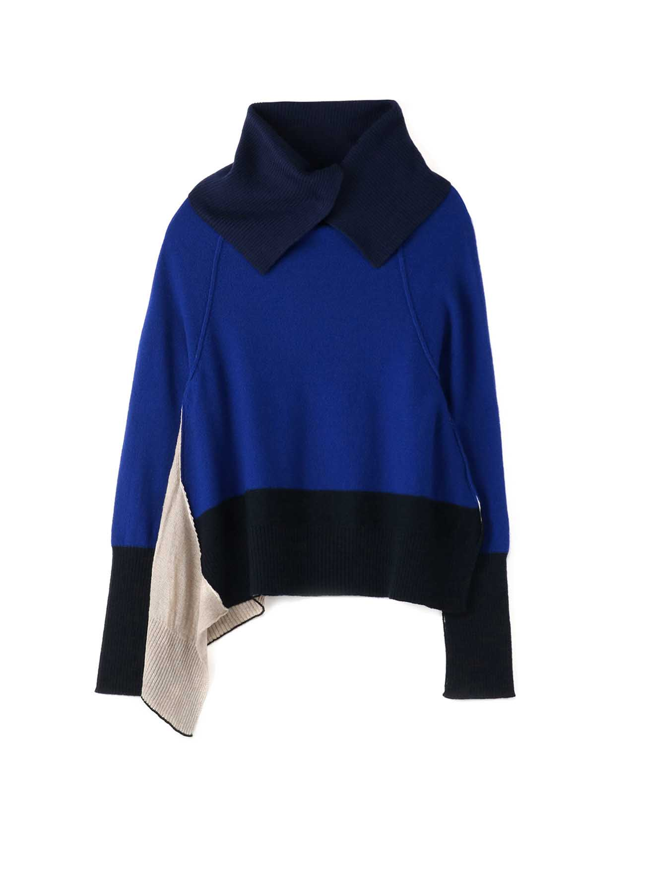 PURL STITCH COMBI COLOR OFF NECK SIDE DRAPE PULLOVER