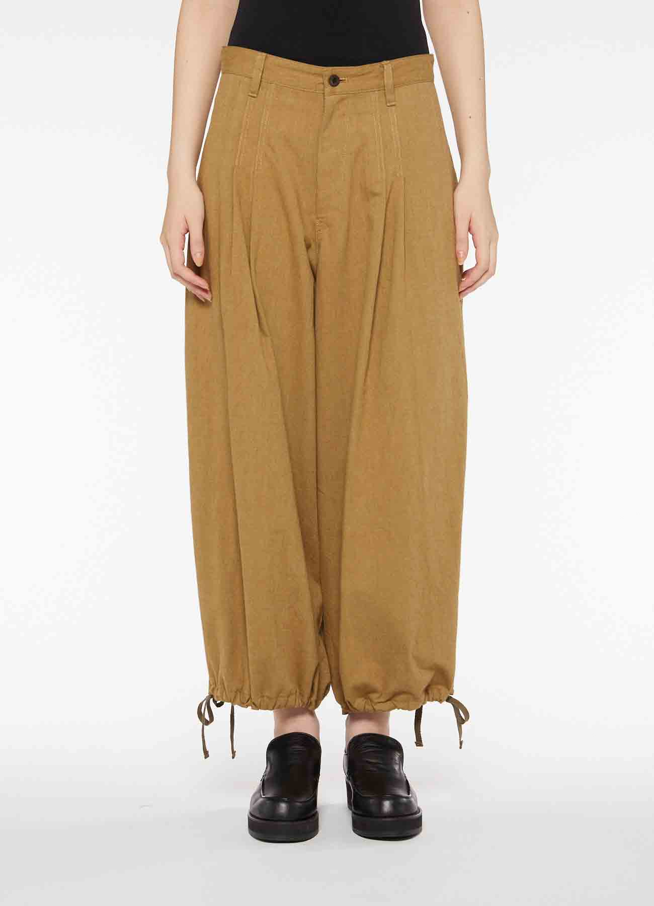 COTTON TWILL BACK TUCK PANTS