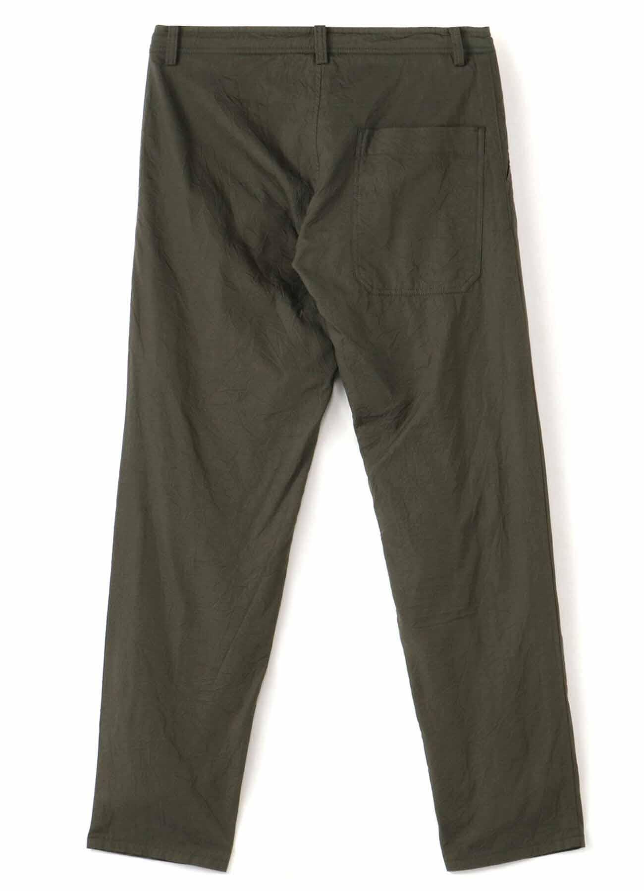 COTTON BROAD WRINKLE GARMENT DYE WAIST STRING THIN PANTS