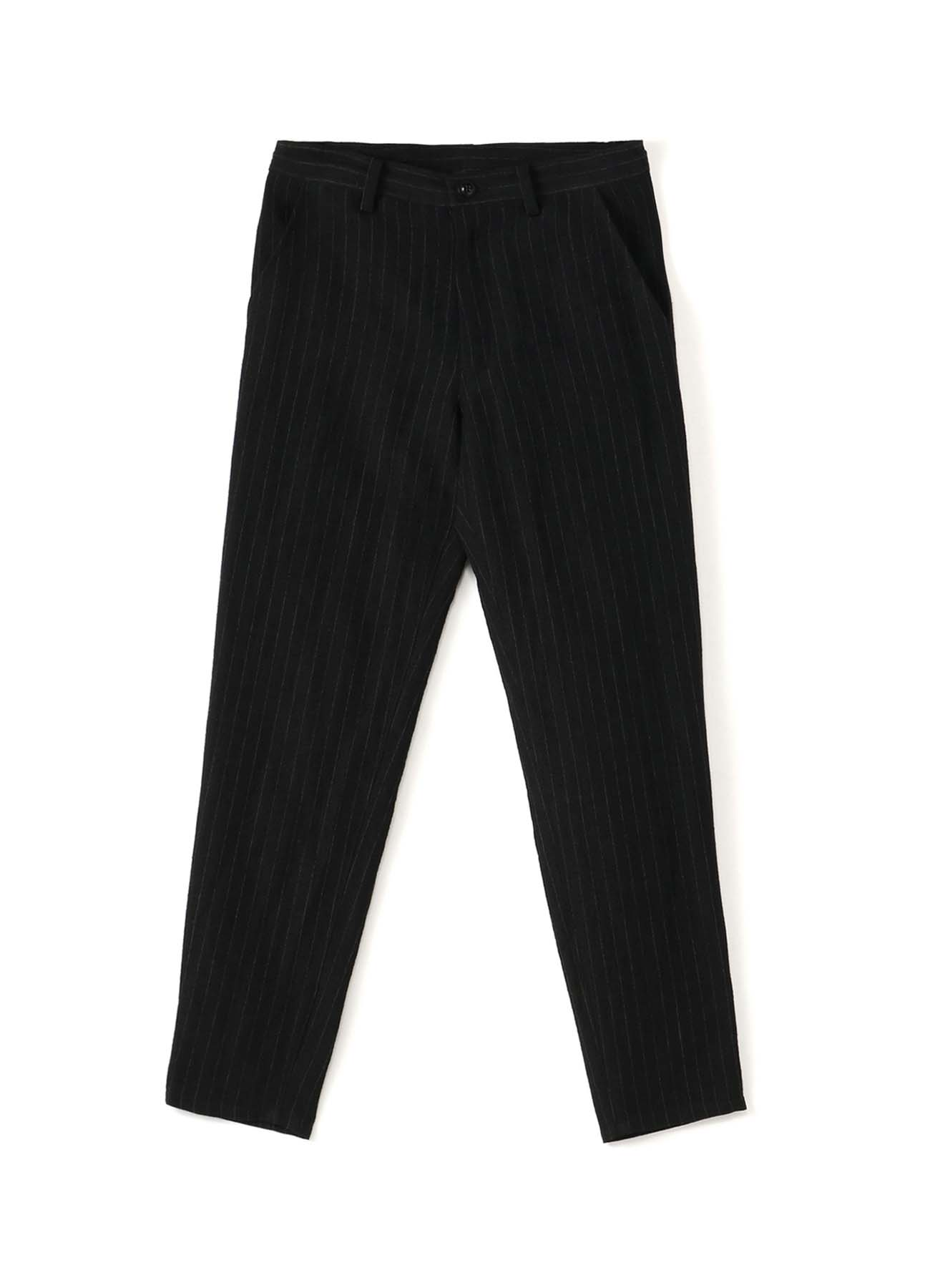WOOL LINEN PIN STRIPE YARN DYED WAIST STRING THIN PANTS