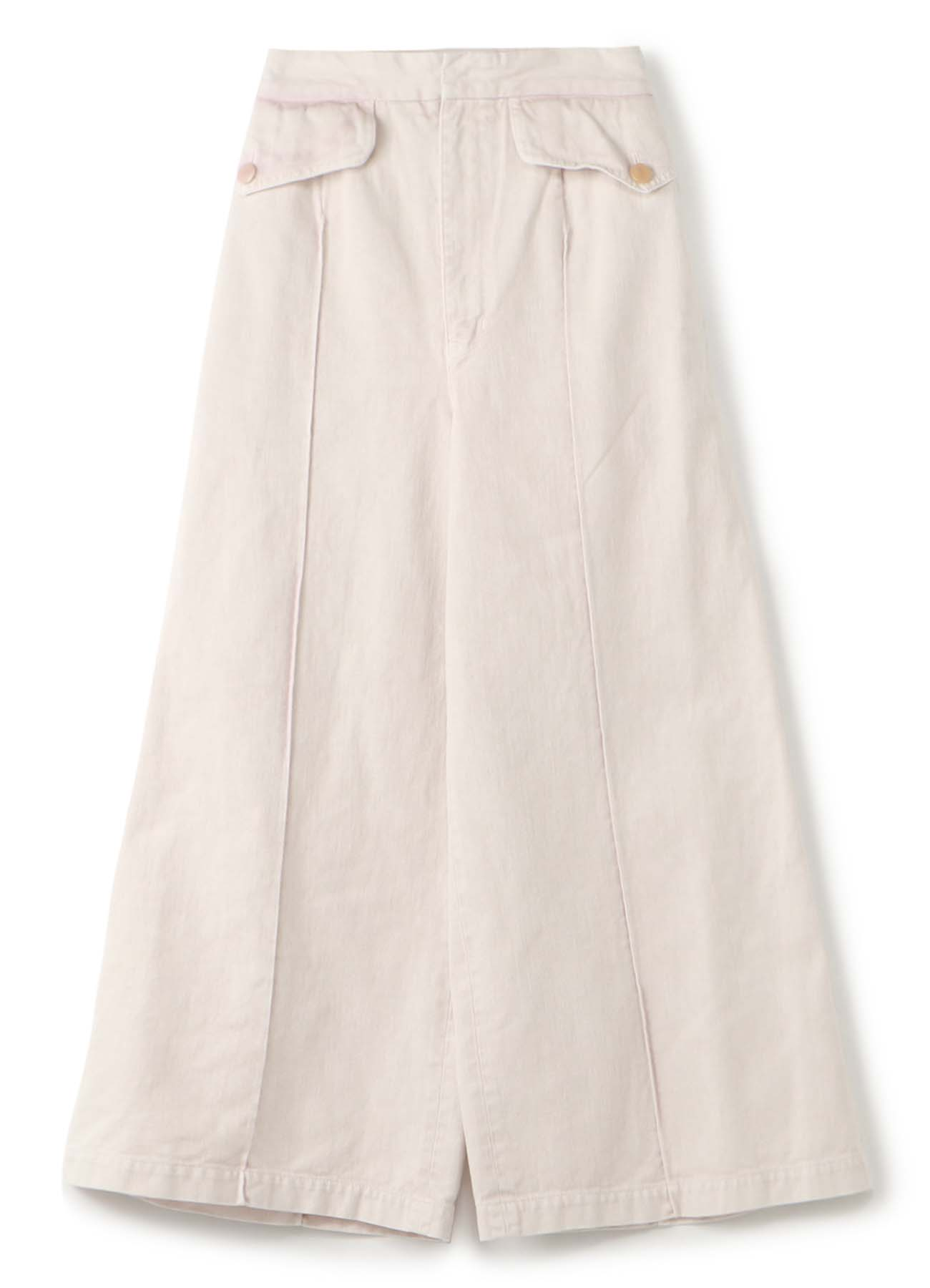 Y'sPINK COTTON TWILL DENIM COLOR CHEMICAL WIDE PANTS