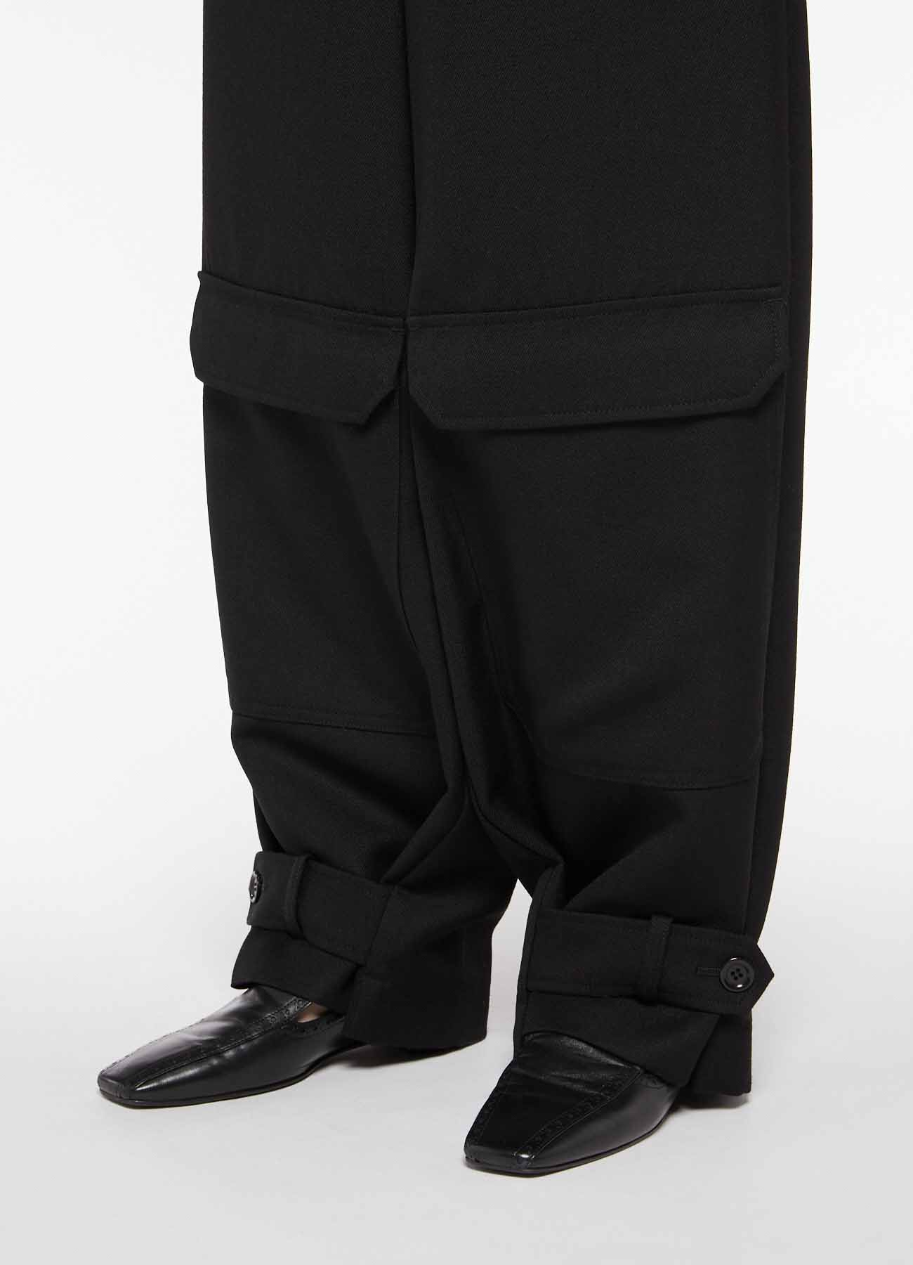 WOOL HARD SERGE WAIST STRING PANTS