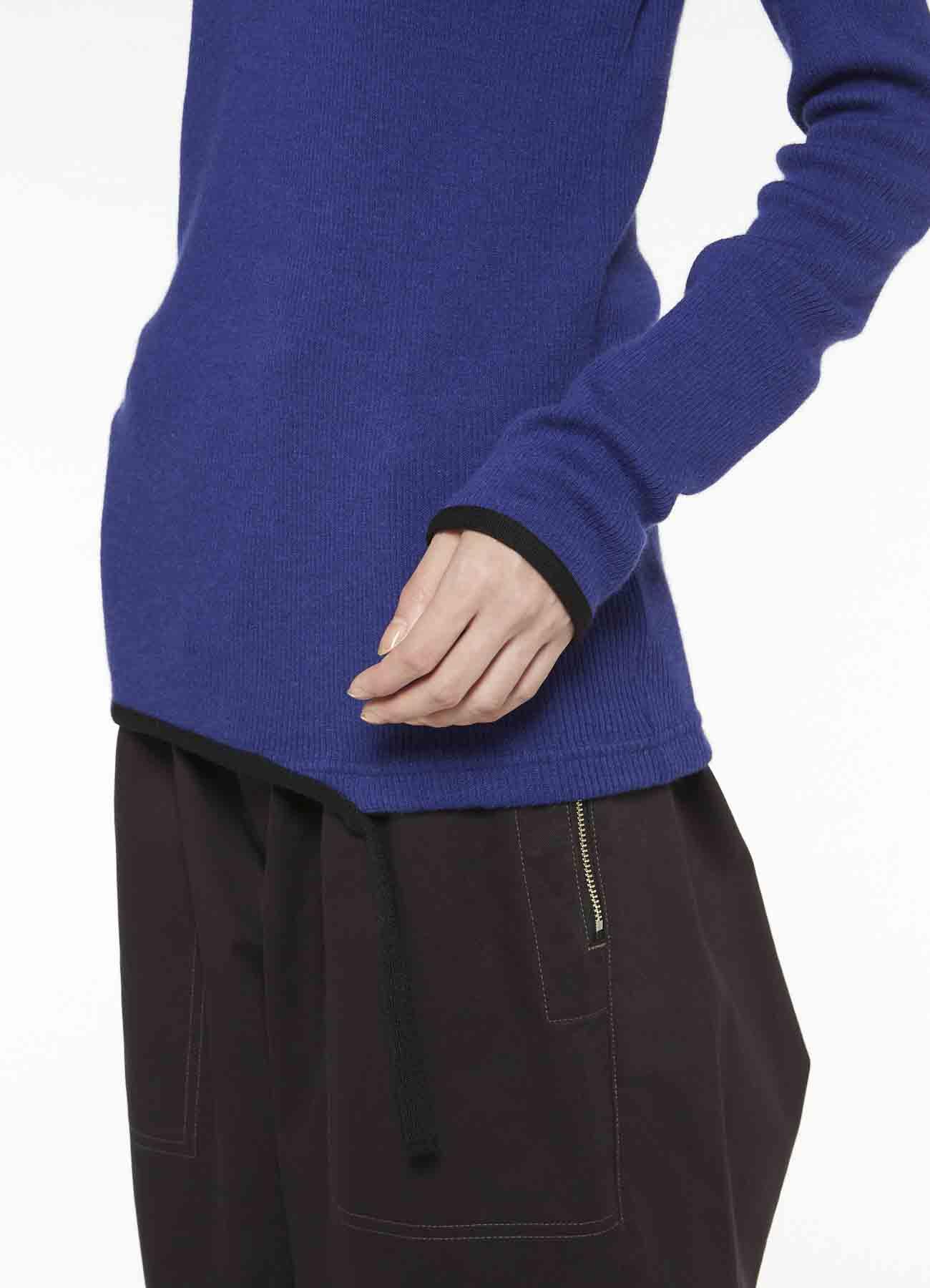 ANGORA WOOL RIB STITCH KNIT TAPE HIGHT NECK T-SHIRT