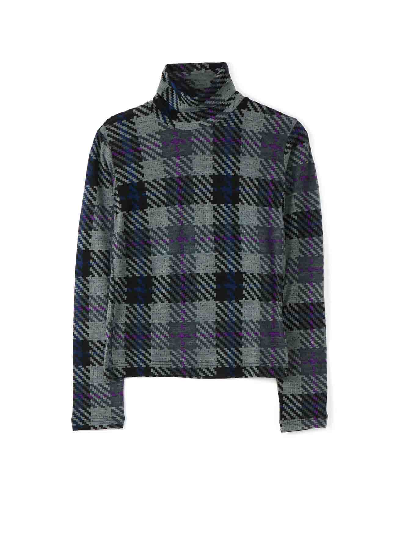 PLAID PRINT HIGHT NECK LONG SLEEVE T-SHIRT