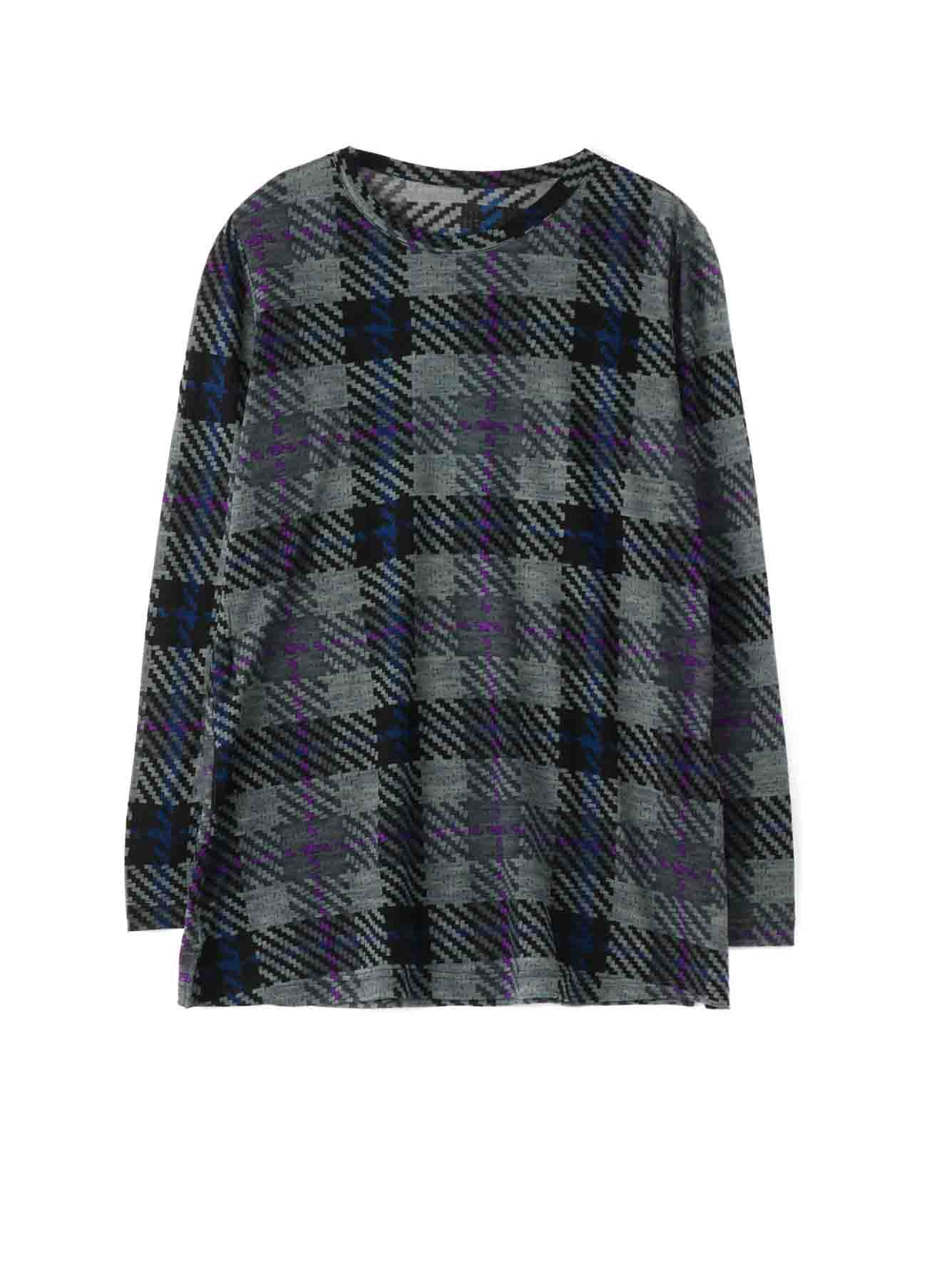PLAID PRINT A LINE LONG SLEEVE T-SHIRT