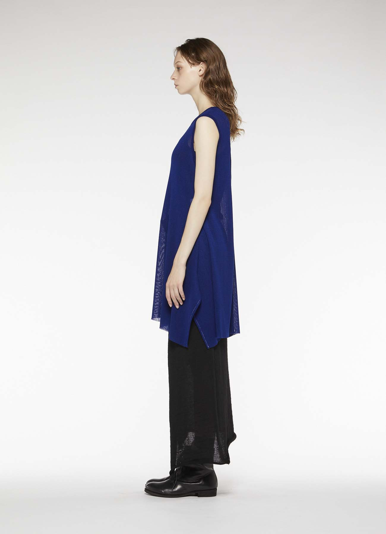 ACRYL WOOL TULLE BOTTOM DRAPE DRESS