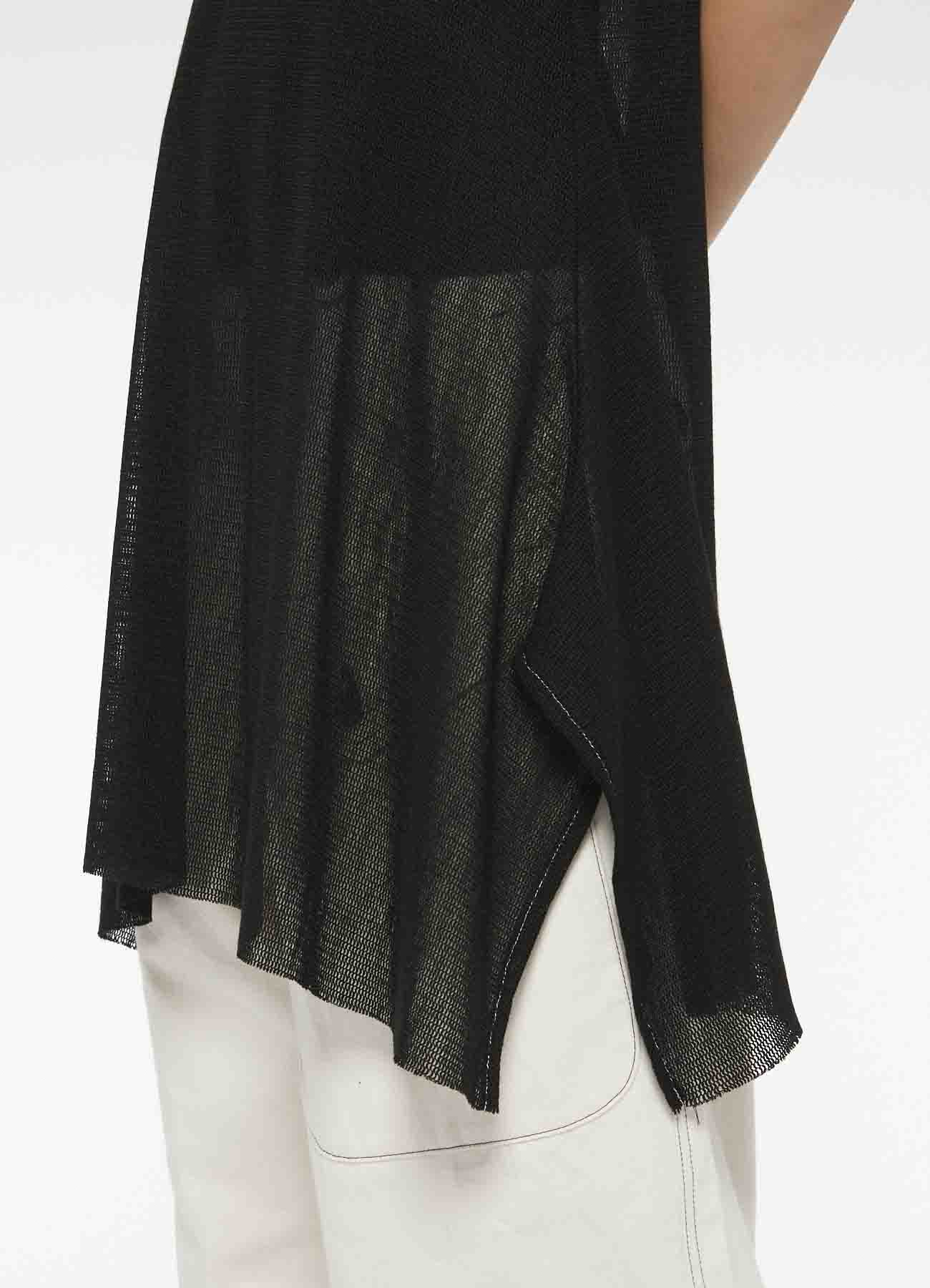 ACRYL WOOL TULLE BOTTOM DRAPE DRESS