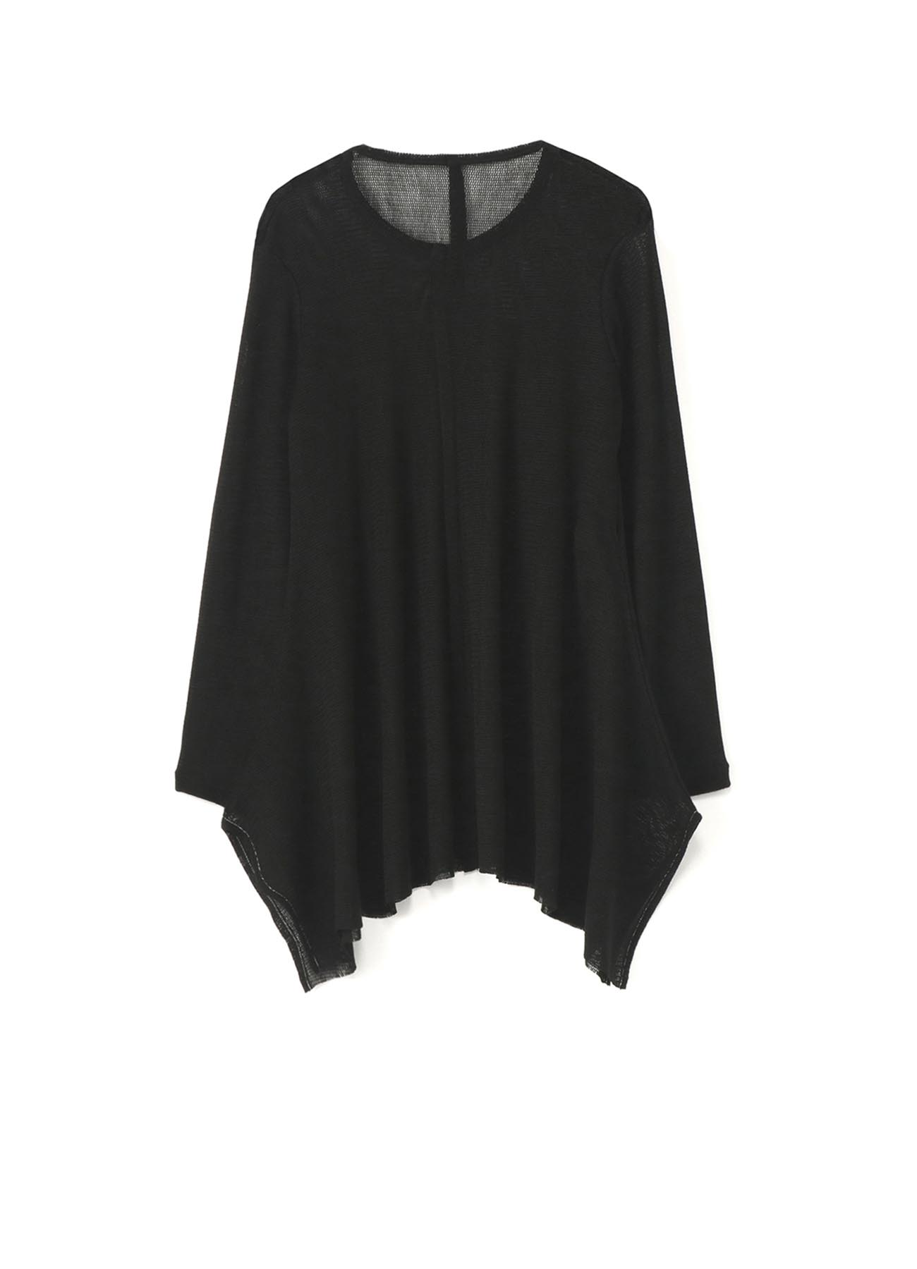 ACRYL WOOL TULLE BOTTOM DRAPE LONG SLEEVE TOP