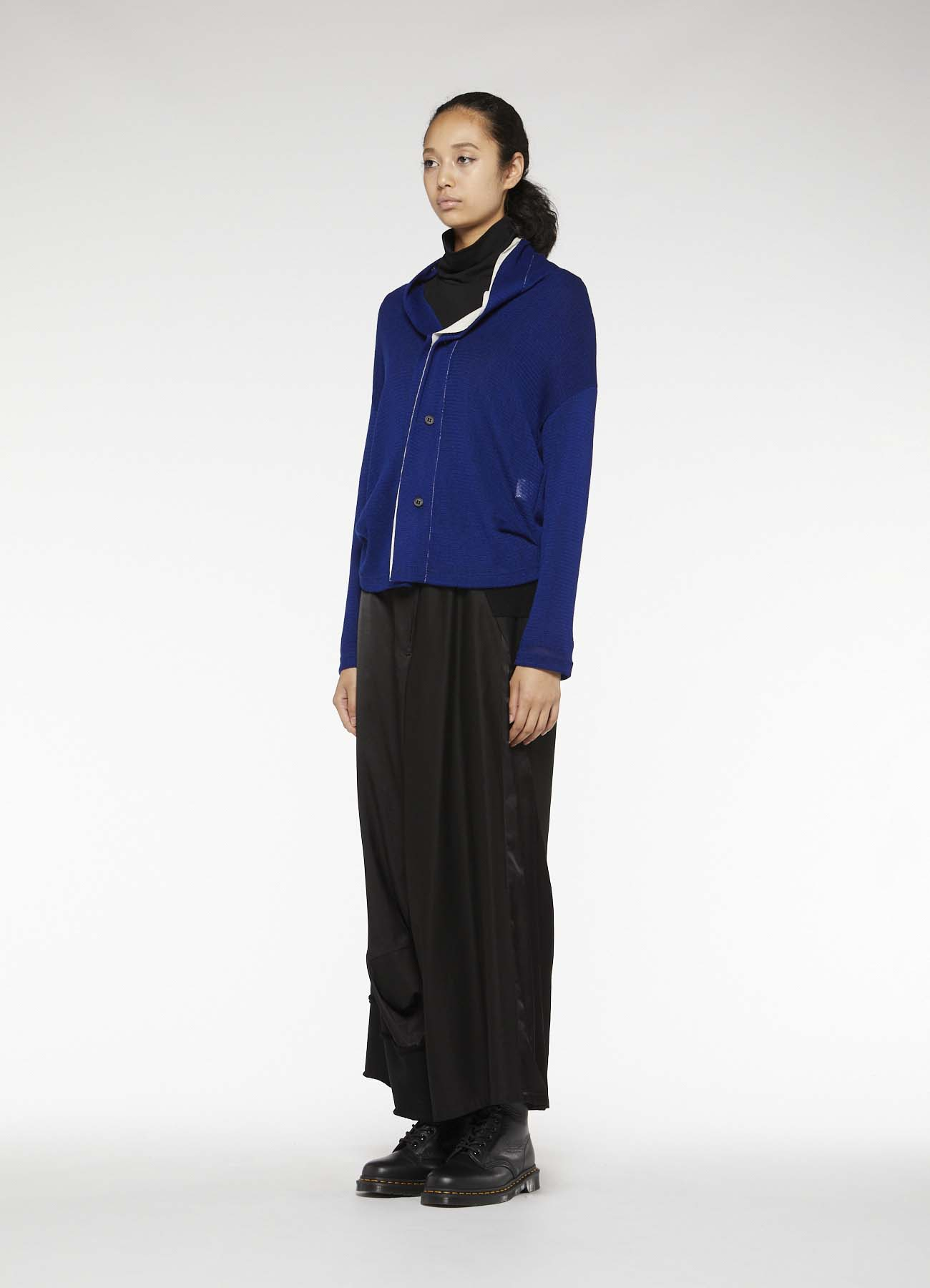 ACRYL WOOL TULLE SIDE TUCK 3 BUTTON CARDIGAN
