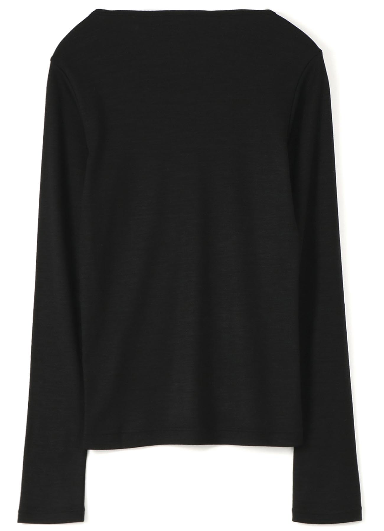 WOOL CLEAR SMOOTH ROUND NECK LONG SLEEVE T-SHIRT