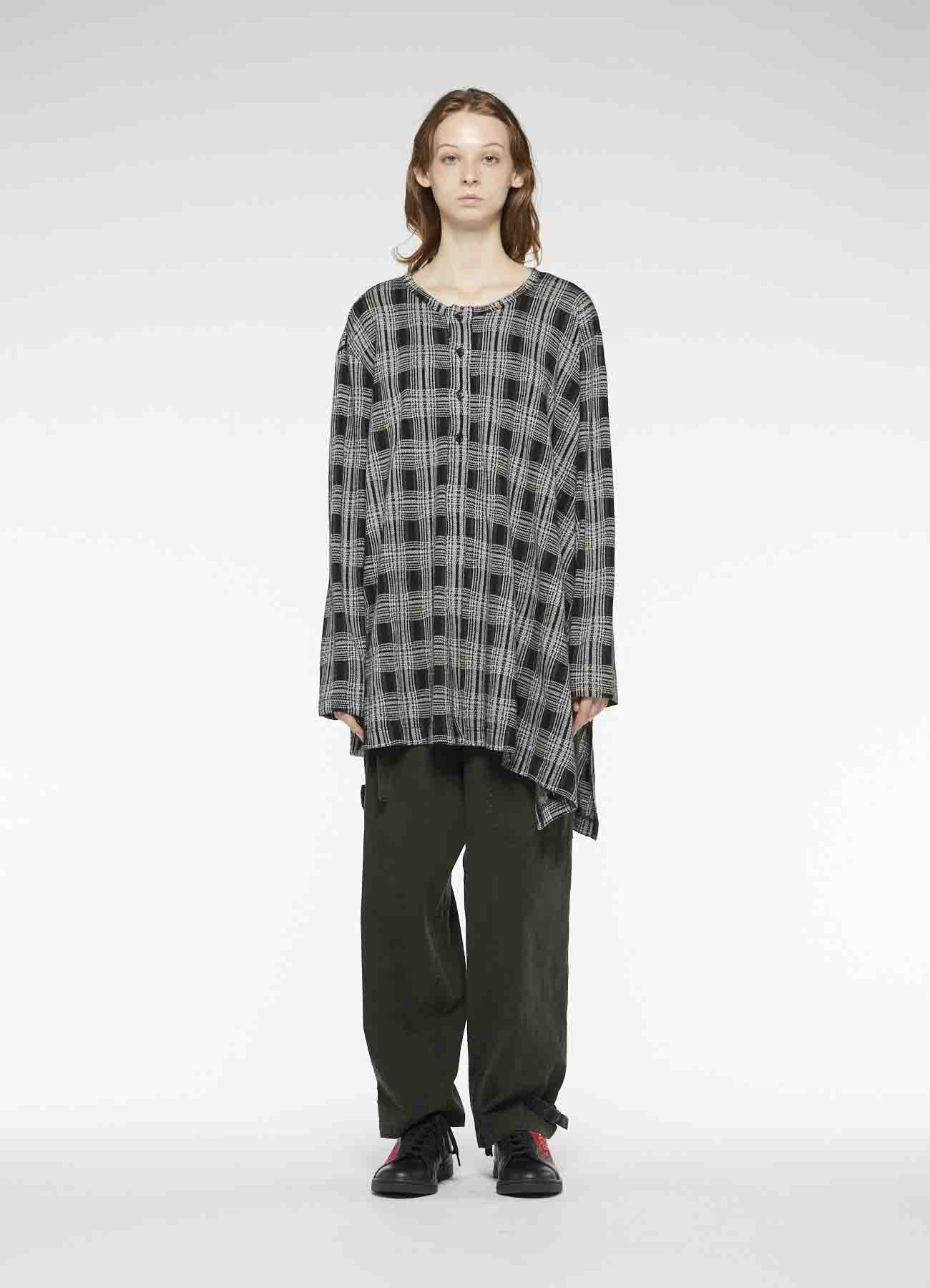 PLAID CUT JACQUARD LIKE FRONT OPEN ROUND-NECKED COLLAR T-SHIRT