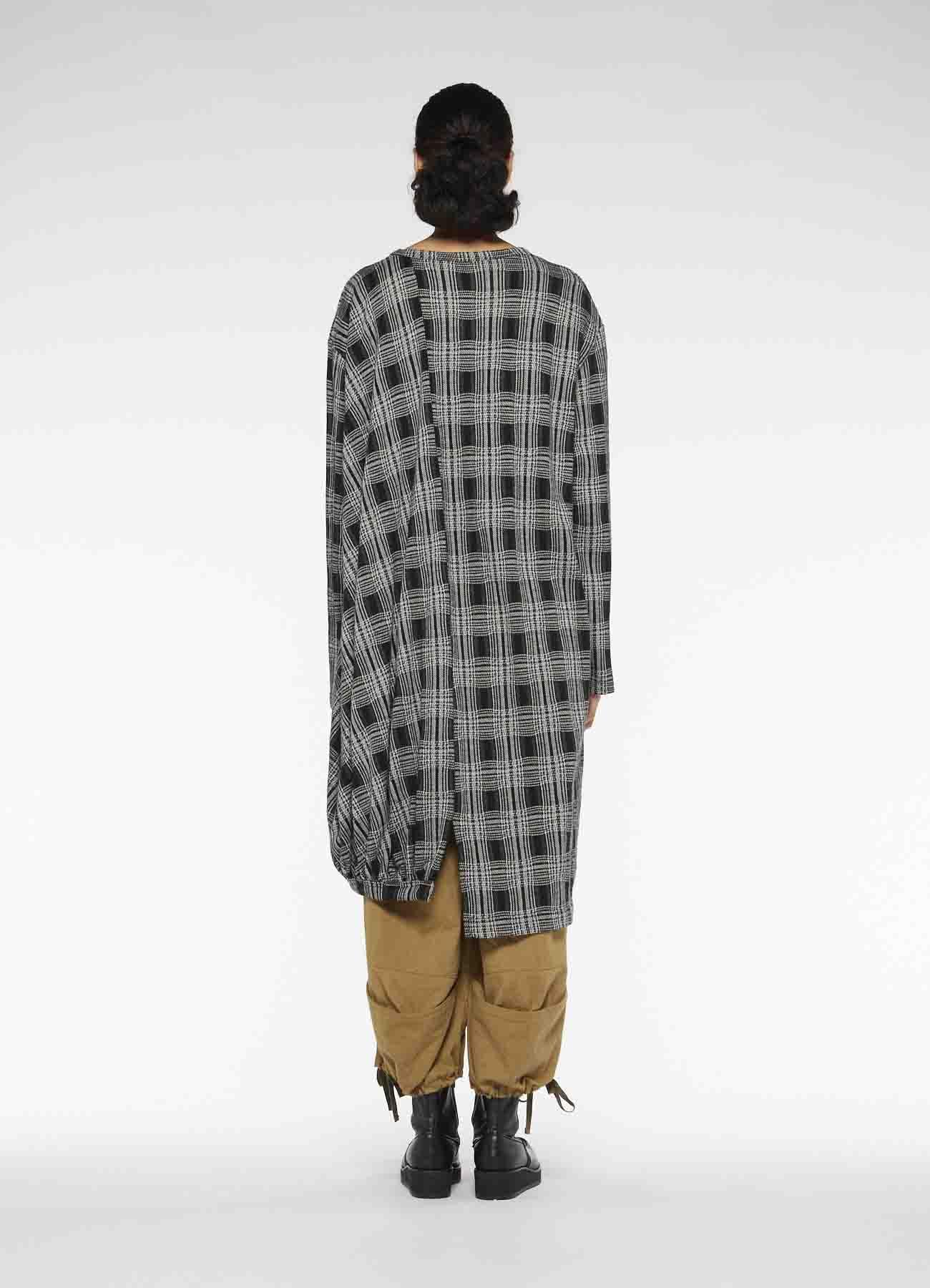 PLAID CUT JACQUARD BOTTOM GATHER DRESS