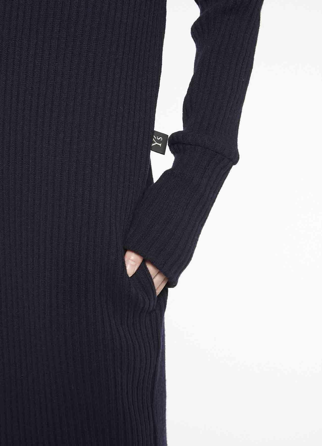 COTTON WOOL NYLON RIB STITCH HIGH NECK SWEATER DRESS