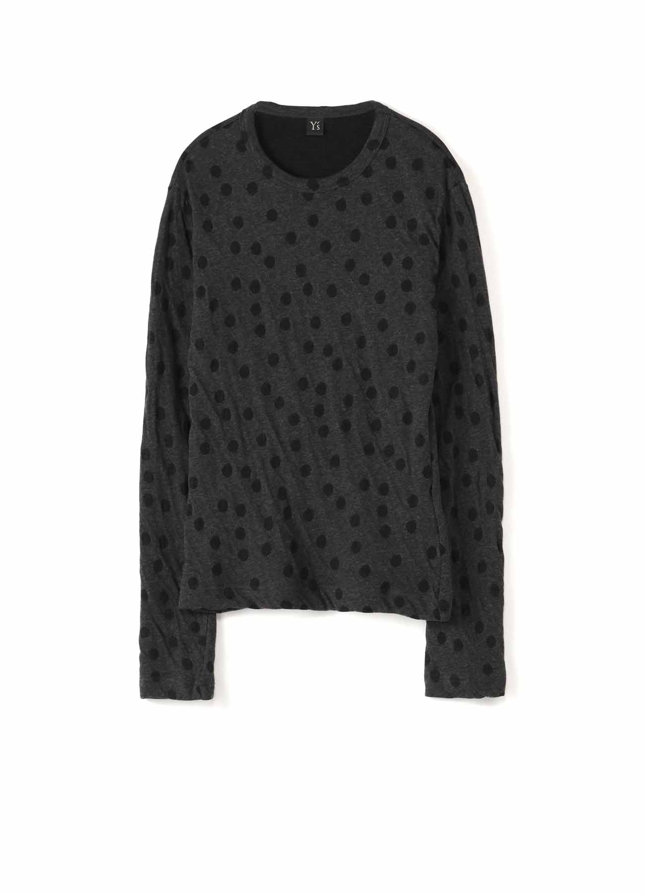 LYOCELL COTTON DOT DUAL-LAYER JACQUARD ROUND NECK LONG SLEEVE T-SHIRT