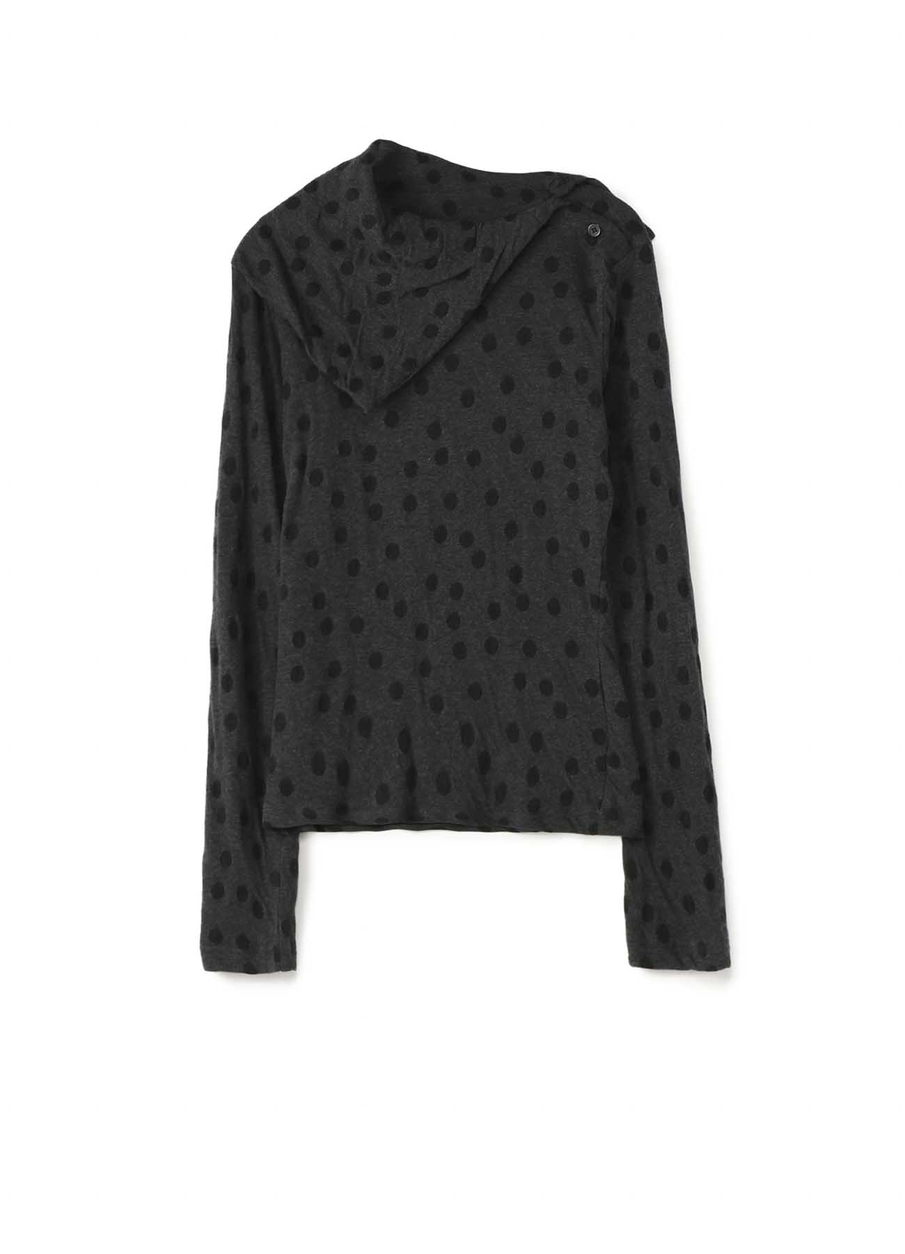 LYOCELL COTTON DOT DUAL-LAYER JACQUARD COLLARED LONG SLEEVE T-SHIRT