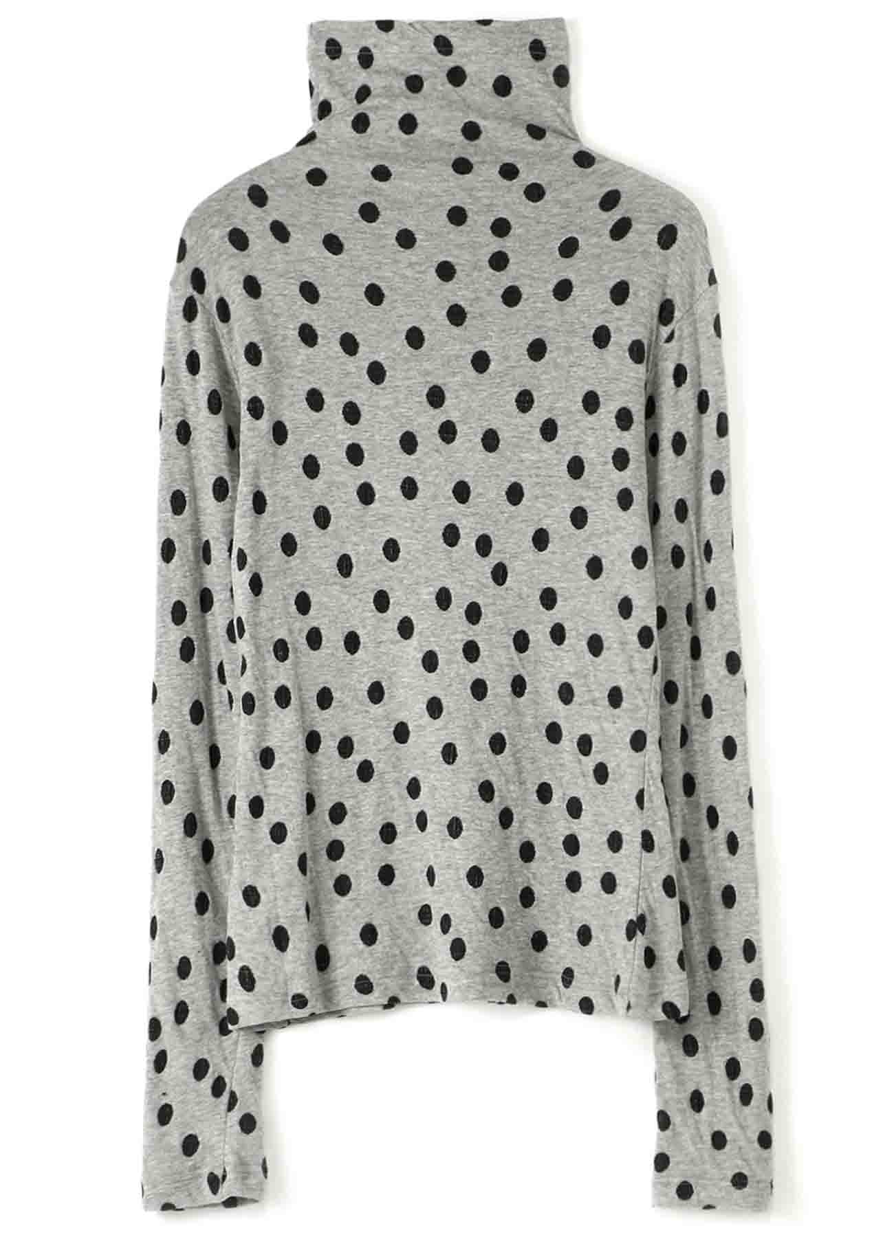 LYOCELL COTTON DOT DUAL-LAYER JACQUARD FRONT COLLARED DECO LONG SLEEVE T-SHIRT