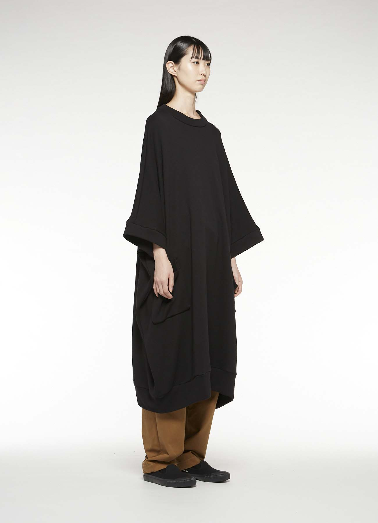 COTTON LYOCELL FLEECE LOOSE ROUND NECK DRESS