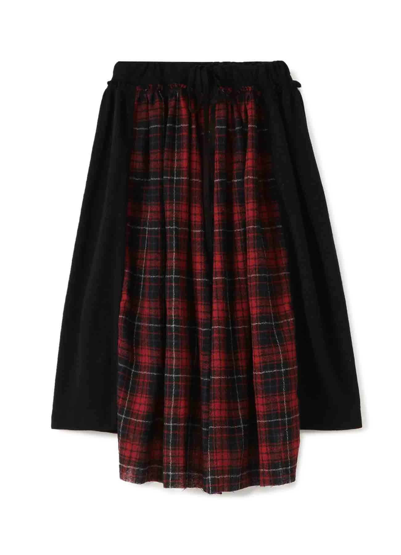 WOOL NYLON x PLAID GATHER SKIRT