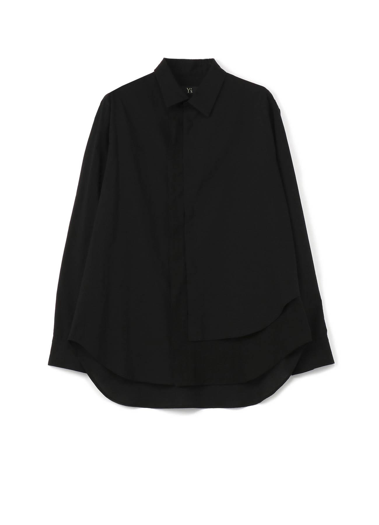 层叠前襟设计长袖衬衫