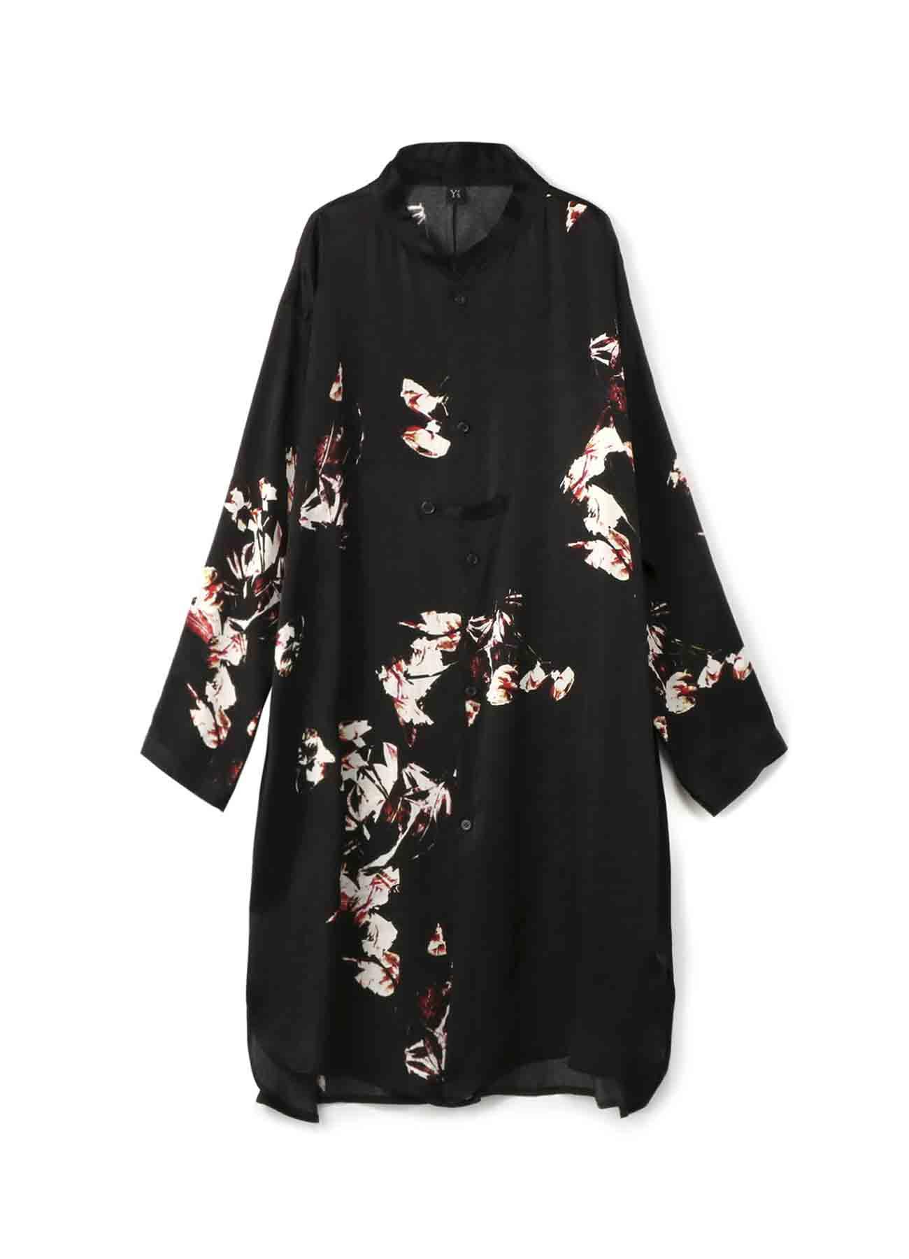 キュプラサテン花柄プリント 抜け衿シャツドレス
