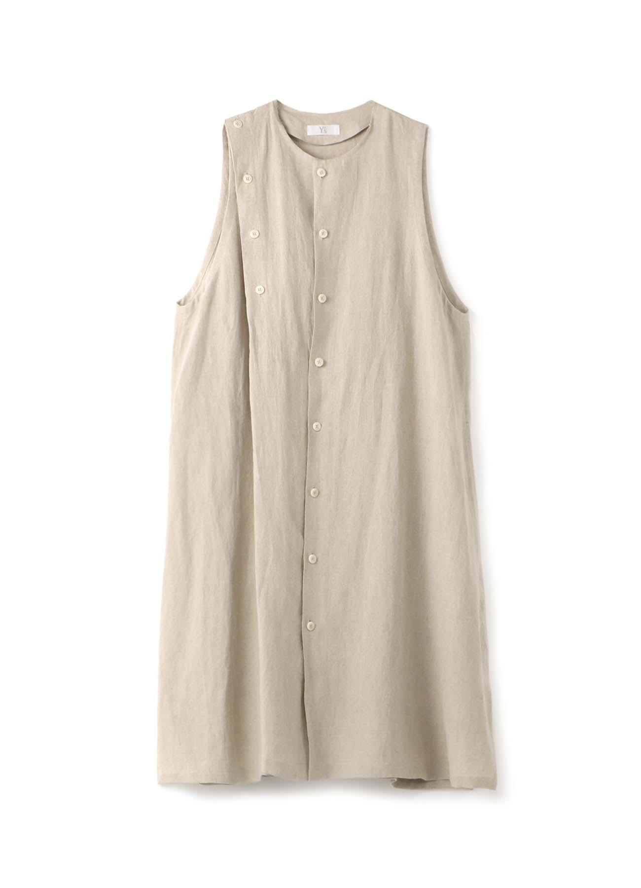 リネンクロス アシンメトリー釦ドレス