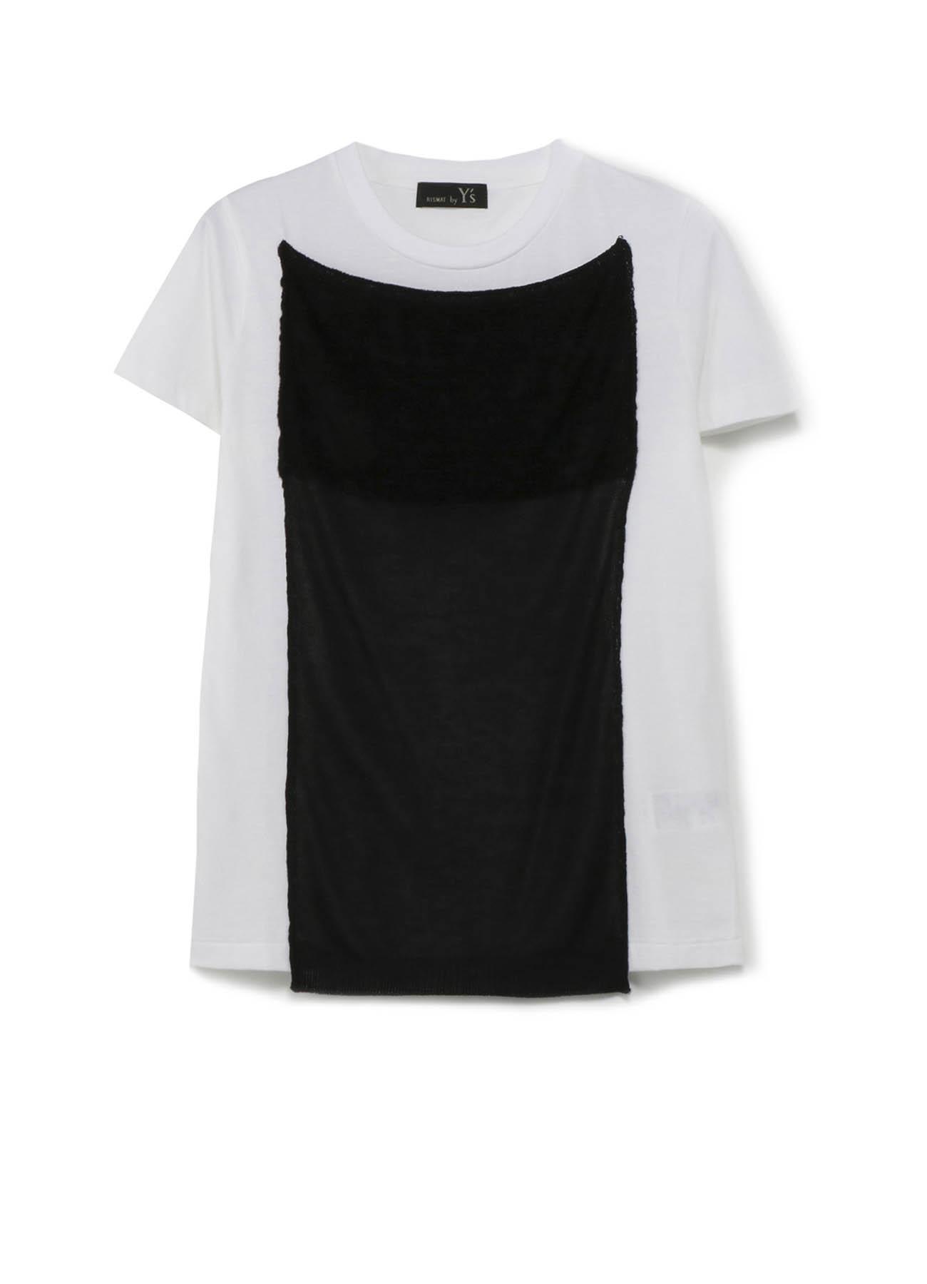 RISMATbyY's コットン天竺 モールニット付半袖Tシャツ