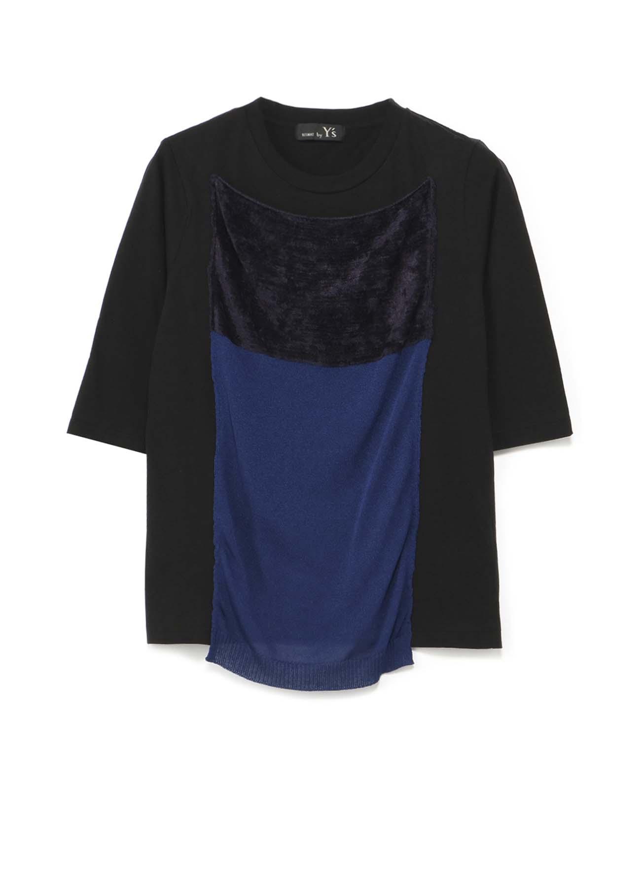 RISMATbyY's コットン天竺 モールニット付七分袖Tシャツ