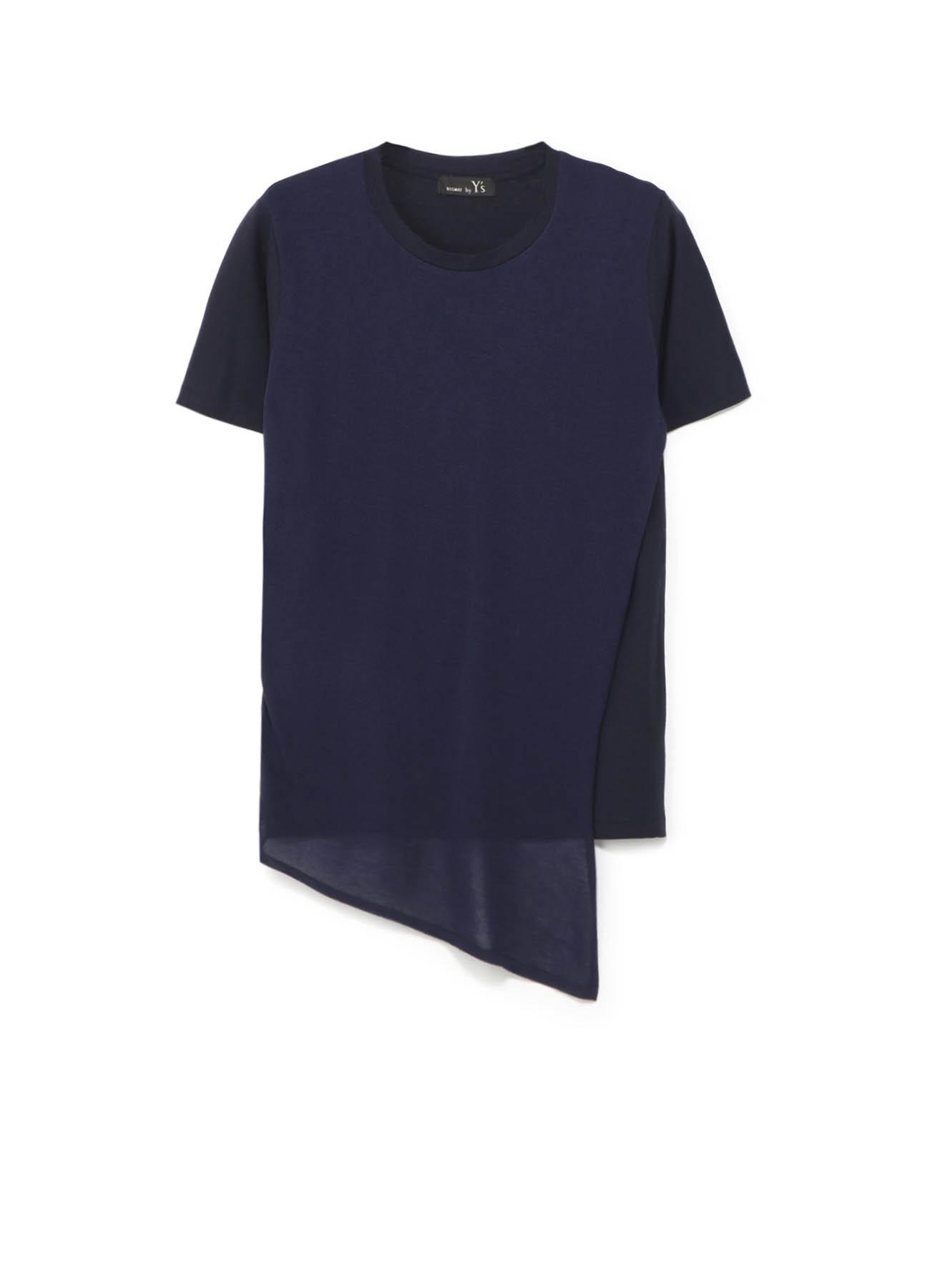 RISMATbyY's 強撚度詰天竺 斜めニット付半袖Tシャツ