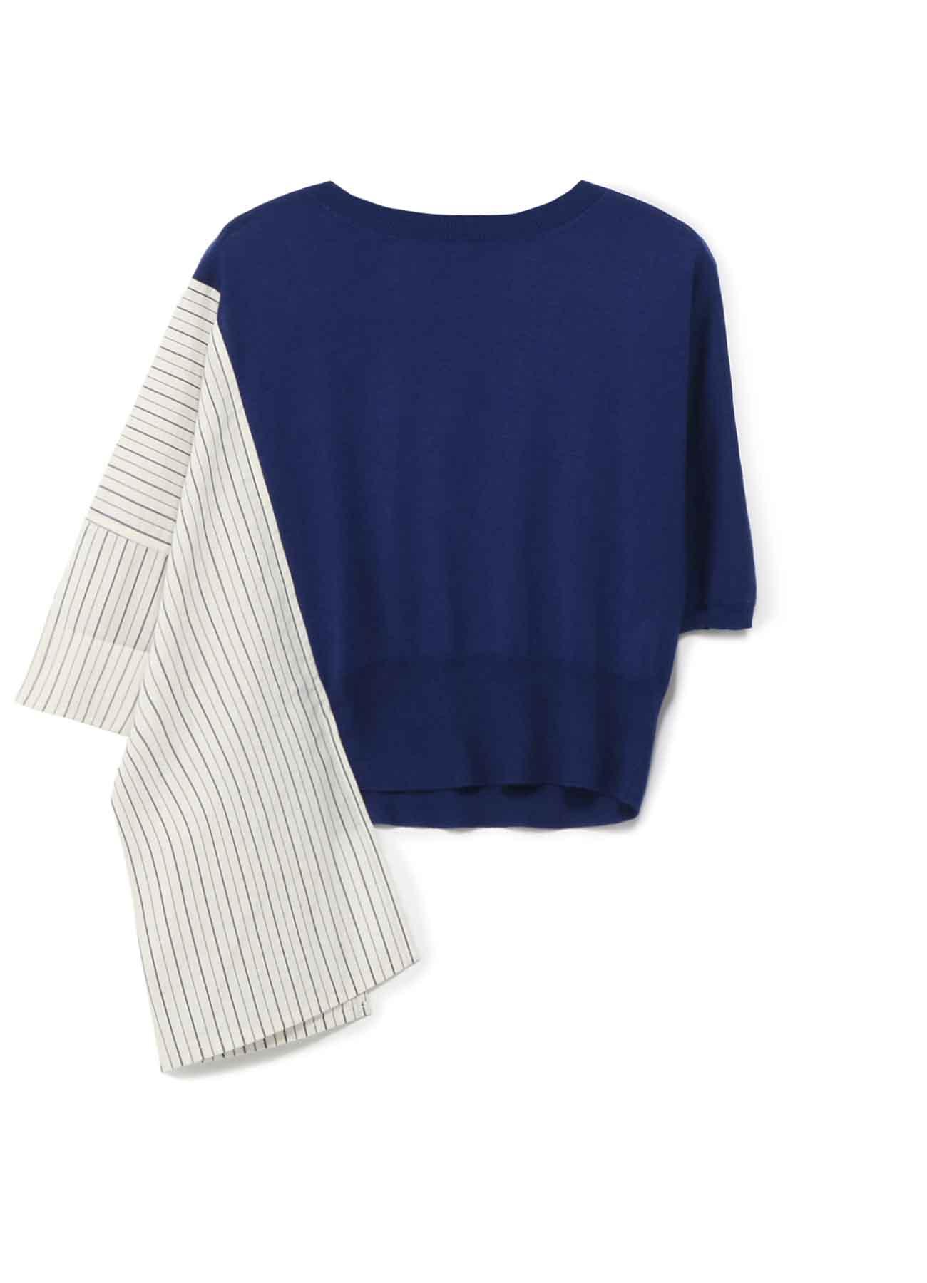 RISMATby Y's棉质人造丝真丝衬衫切换不对称套头衫