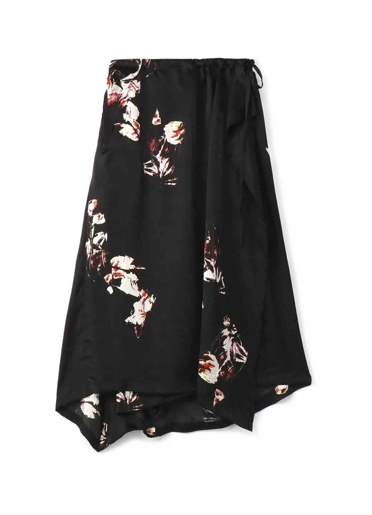 キュプラサテン花柄プリント ラップスカート風パンツ