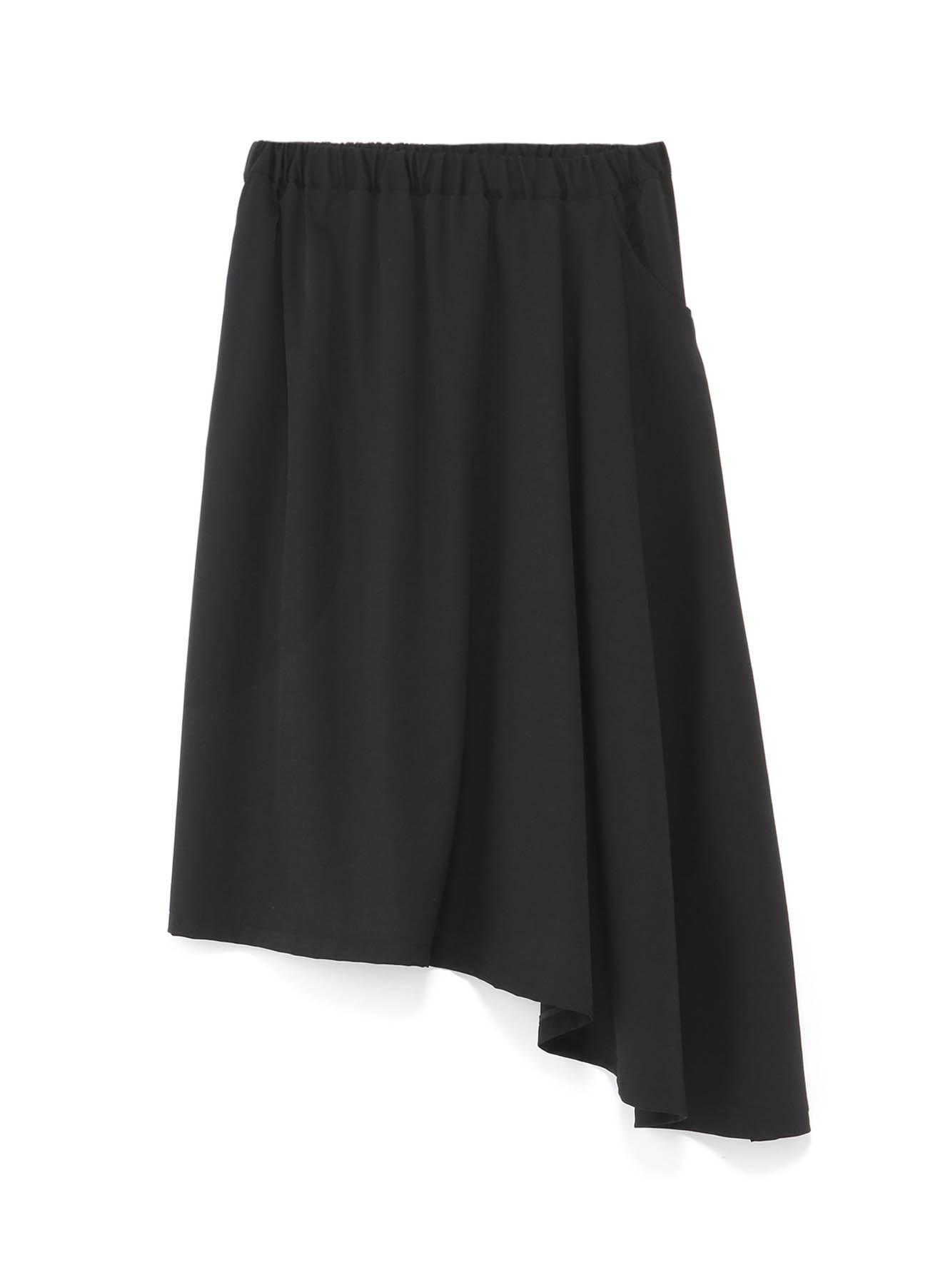 シワギャバ 左ドロップベルトスカート