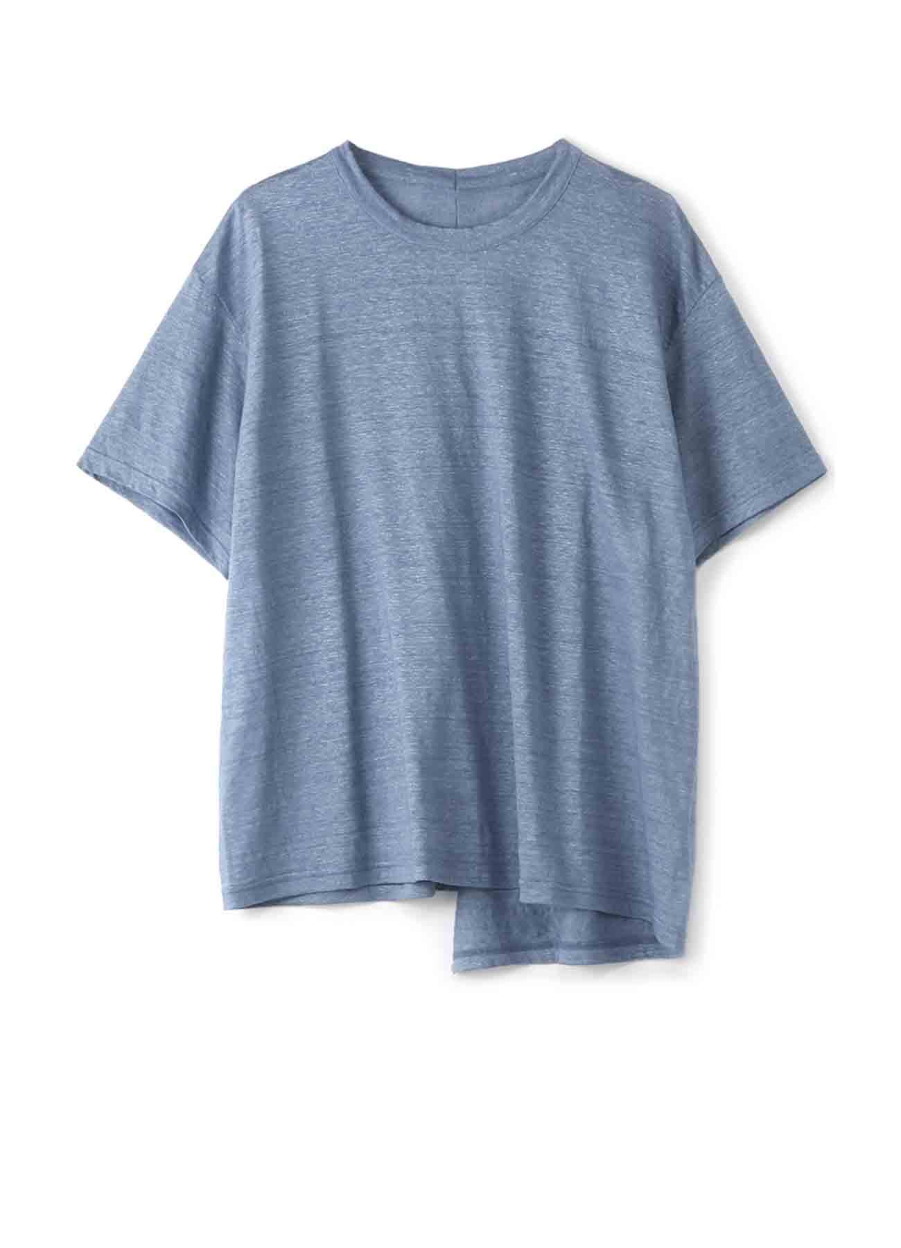 靛蓝色亚麻布Tachikiri短袖T恤