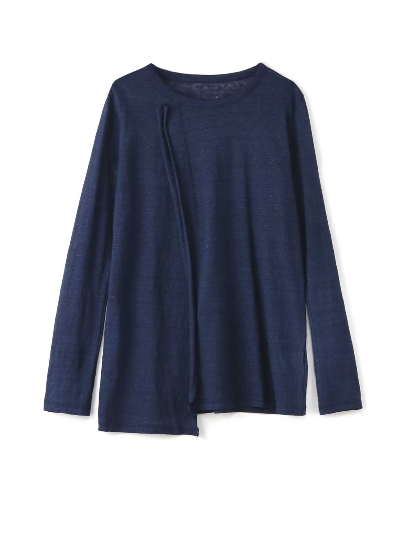 靛蓝色亚麻布立奇里长T恤