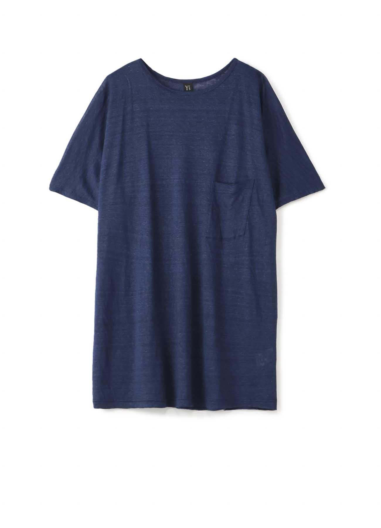靛蓝色亚麻布法式肩大T恤