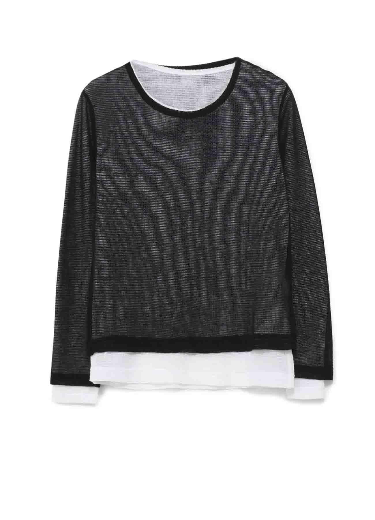 コットン強撚メッシュ天竺 丸首長袖二重Tシャツ