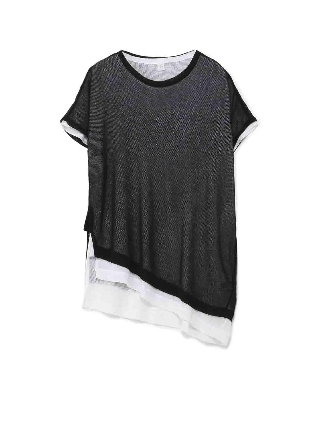 コットン強撚メッシュ天竺 アンバランス二重Tシャツ