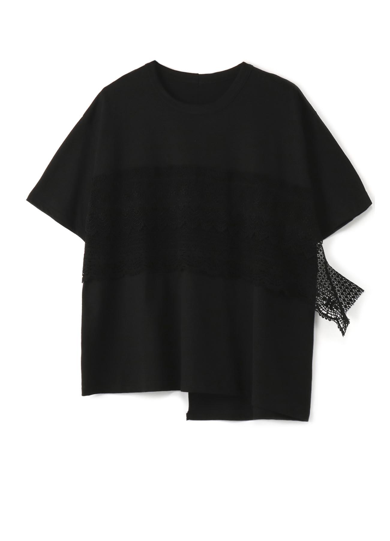 コットン天竺xレース 半袖Tシャツ
