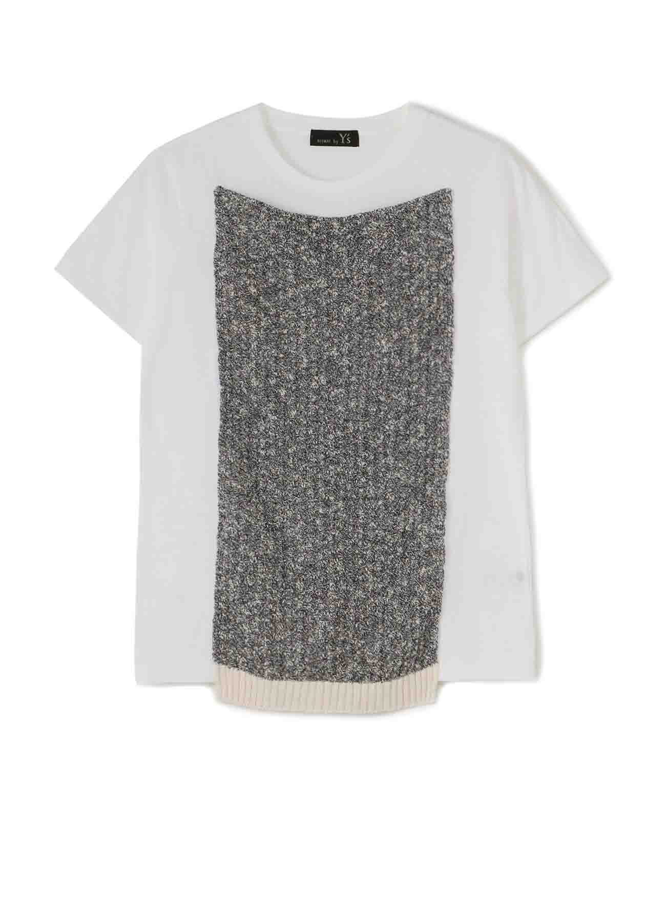 RISMATbyY's? COTTON PLAIN STITCH KNIT ATTACH SHORT SLEEVE T-SHIRT