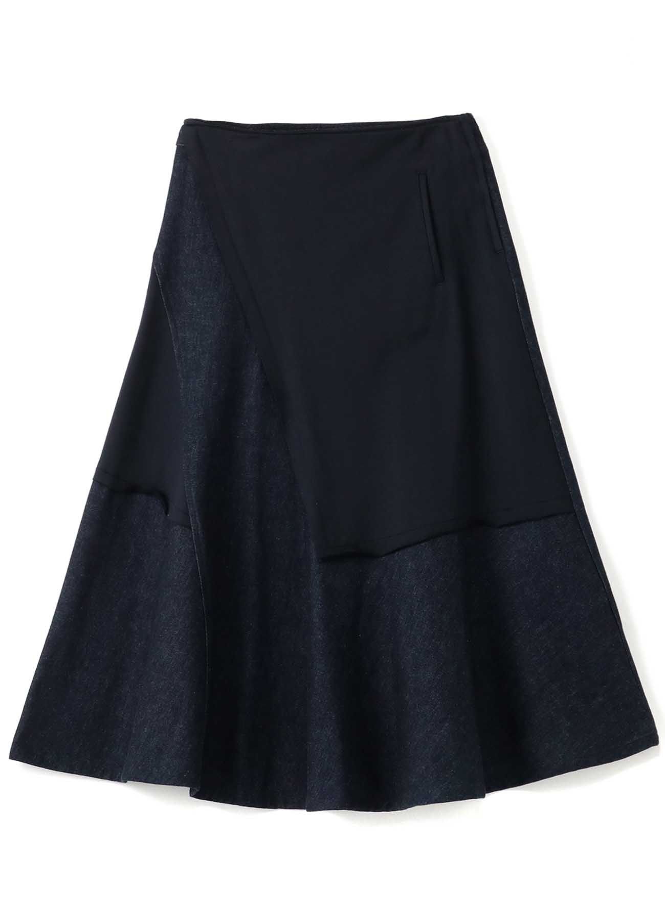 10ozDENIM + COTTON FLEECE LEFT SEAM LONG SKIRT