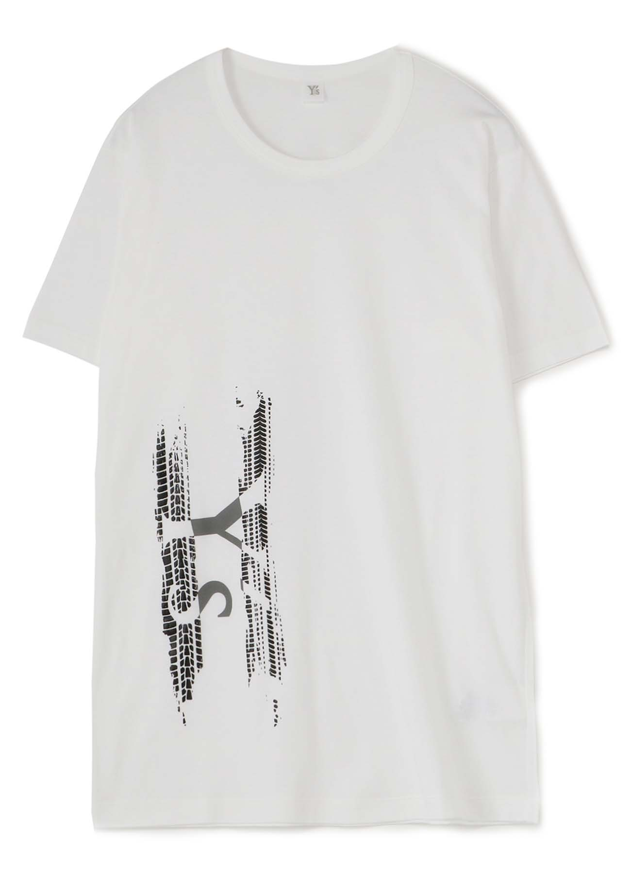 Y's TIRE PIGMENT PRINT ROUND NECK SHORT SLEEVE T-SHIRT