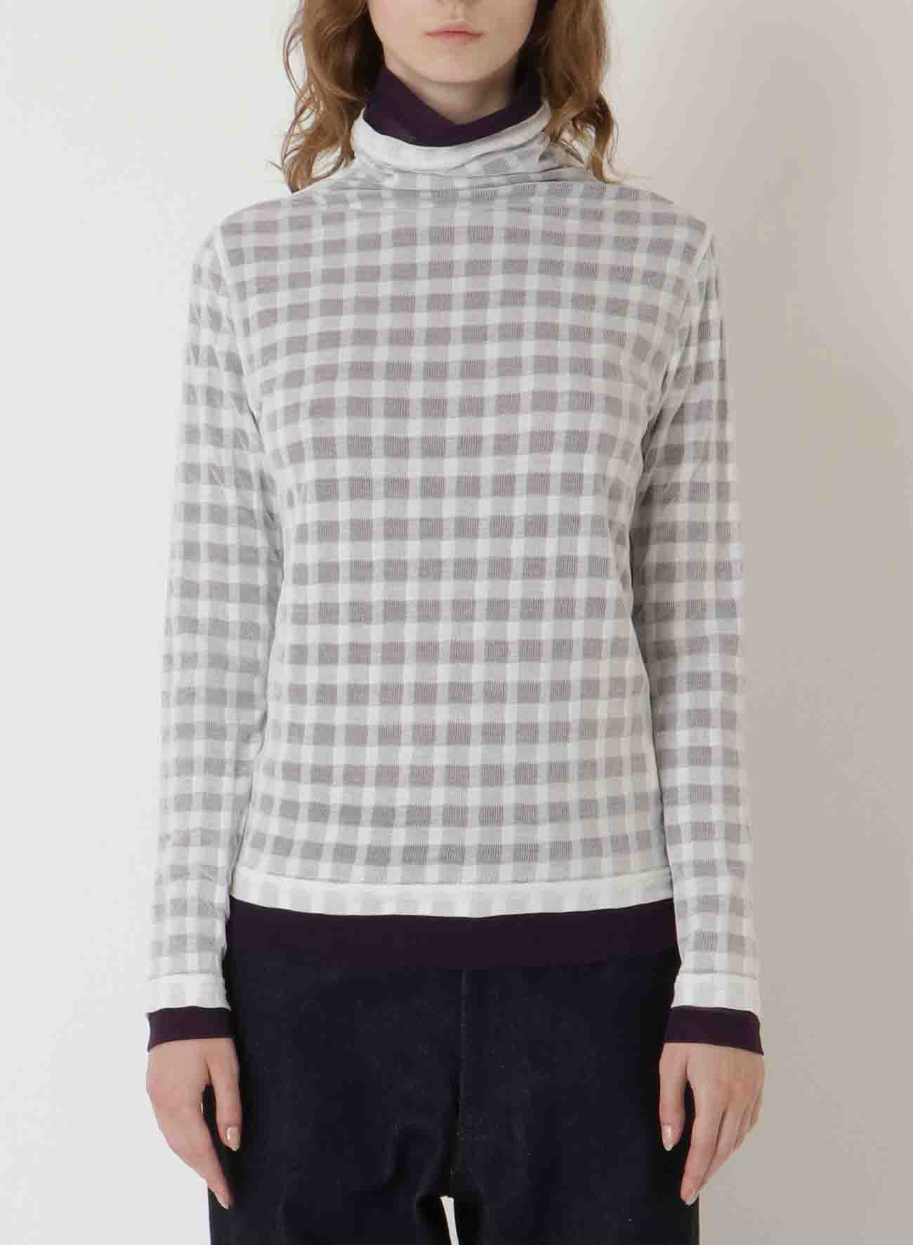 100/2STRONG TWIST CHECKxPOLY TULLE W DOUBLE LAYERED HN LONG SLEEVE T