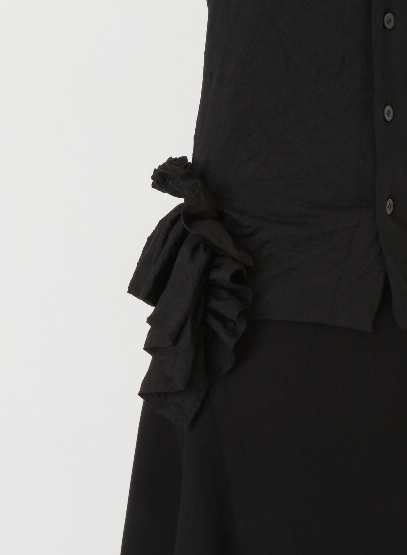 75dx60/-COTTON WRINKLE DESIGN HEM FRILLED CARDIGAN