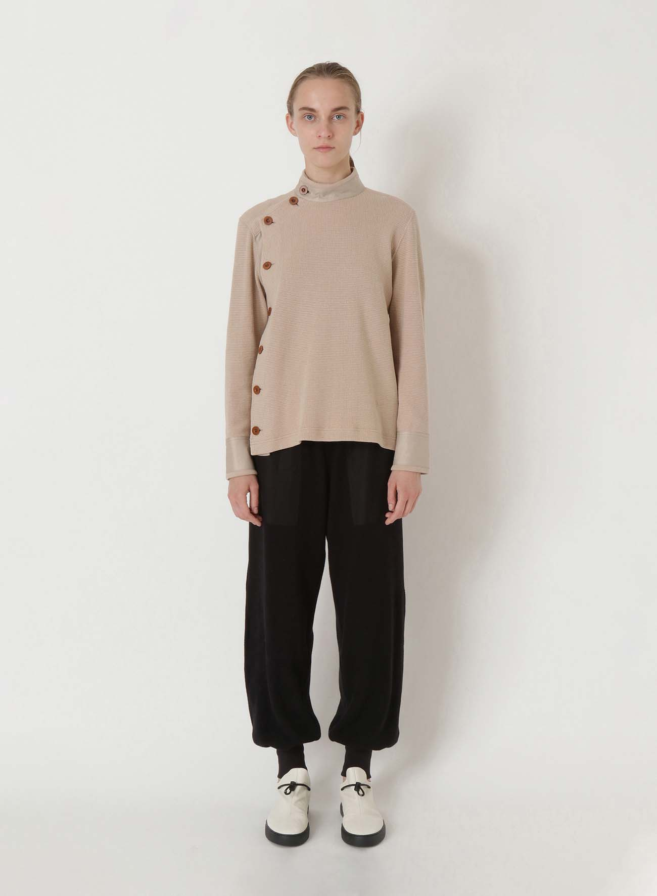 HALF RIB KNIT CUT N SEW BLOUSE